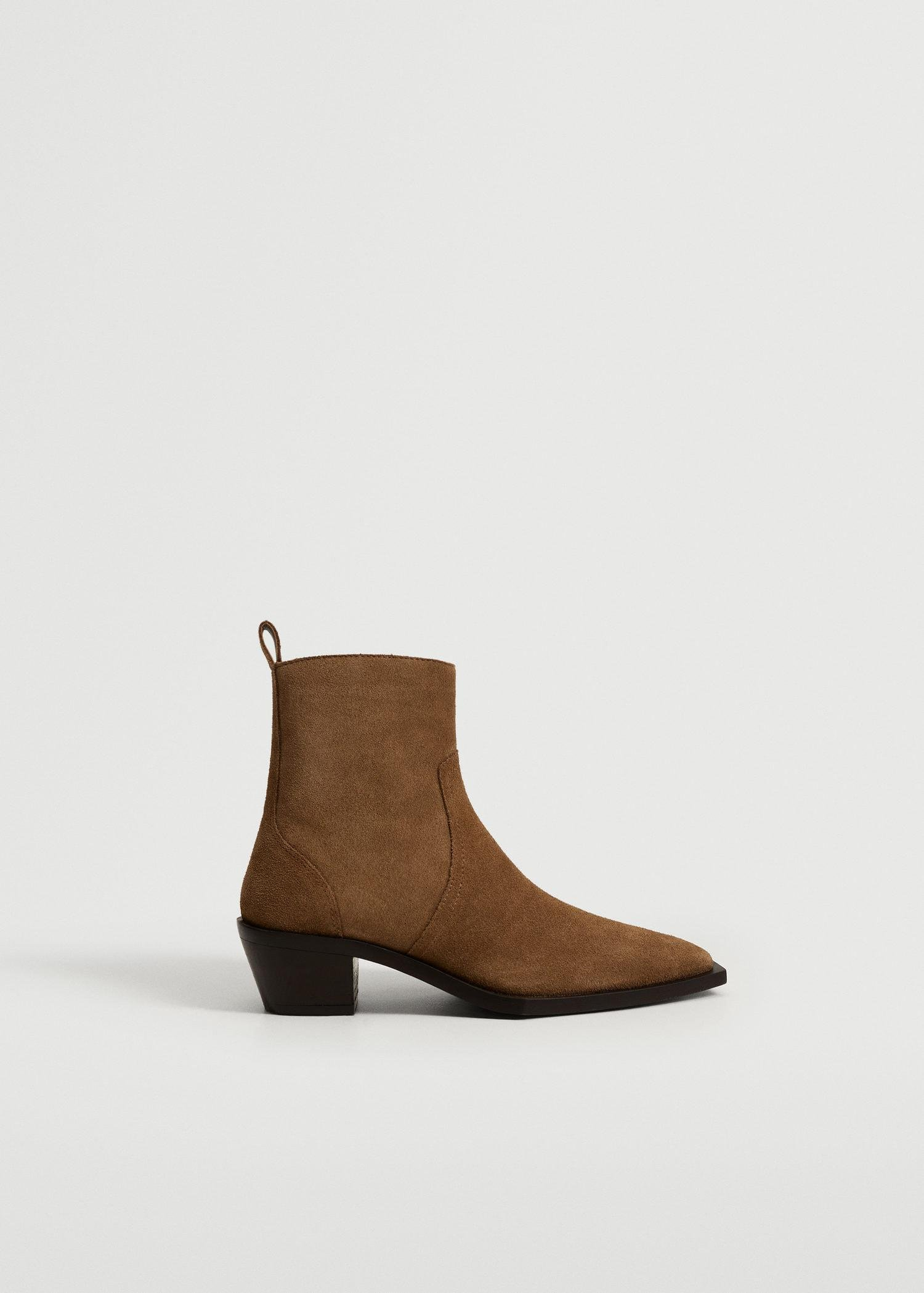 Squared toe leather ankle boots