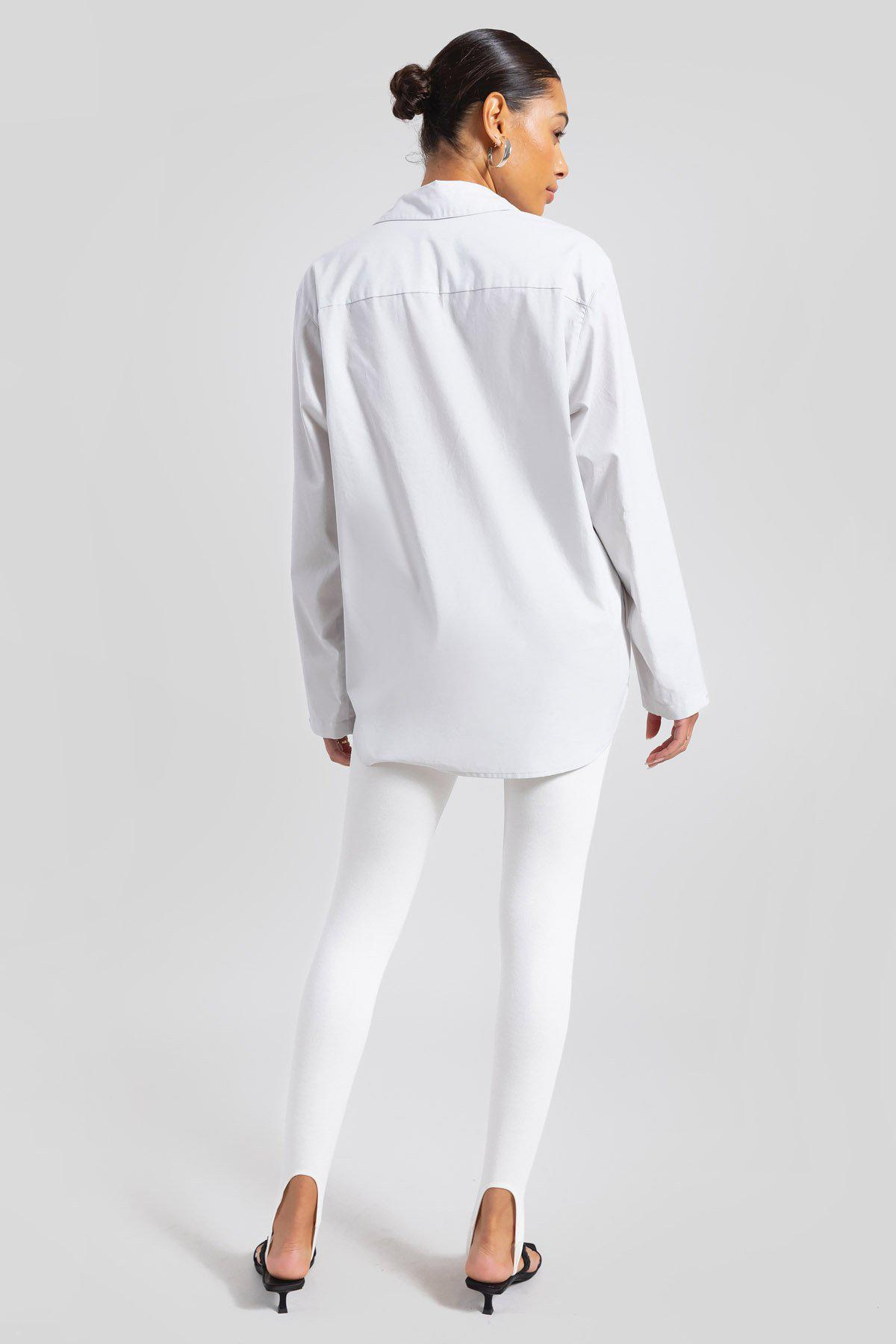 Elle Oversized Button Down - Pearl 4
