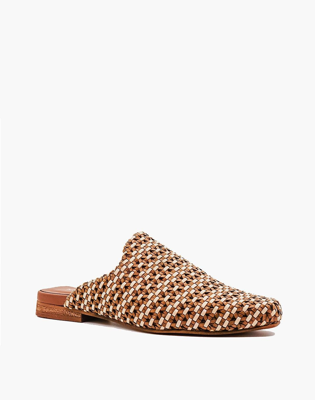 KAANAS Mustique Woven Square-Toe Mules 1