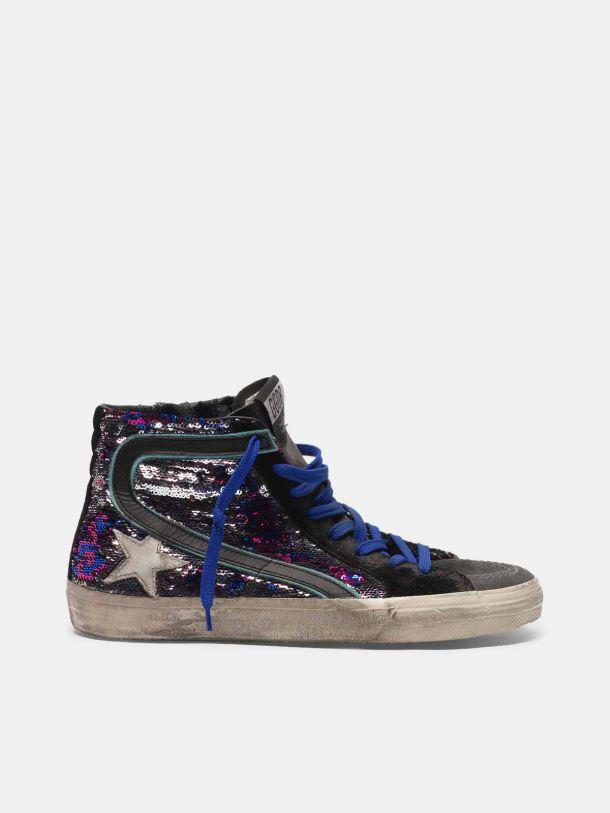 Slide sneakers in suede and sequins