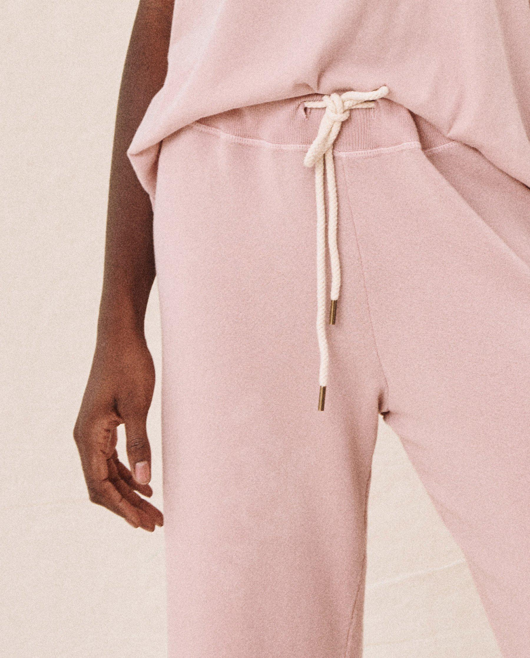 The Wide Leg Cropped Sweatpant. -- CARNATION 3