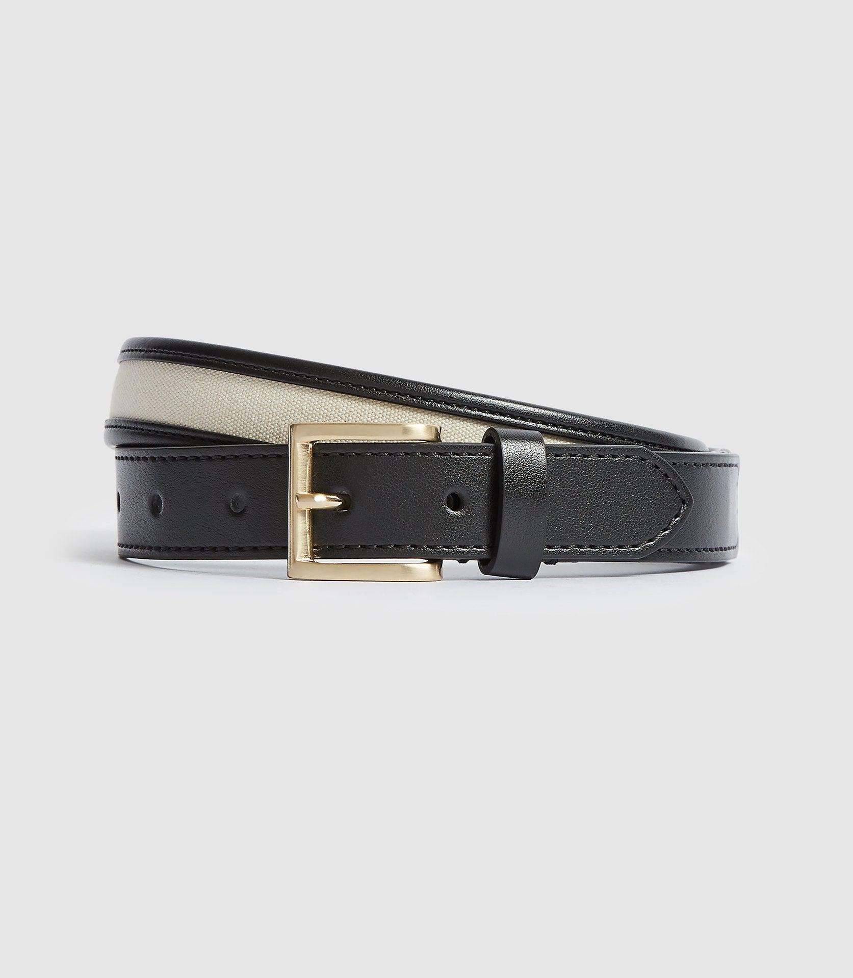 MOLLY - LEATHER BELT WITH CANVAS DETAILING