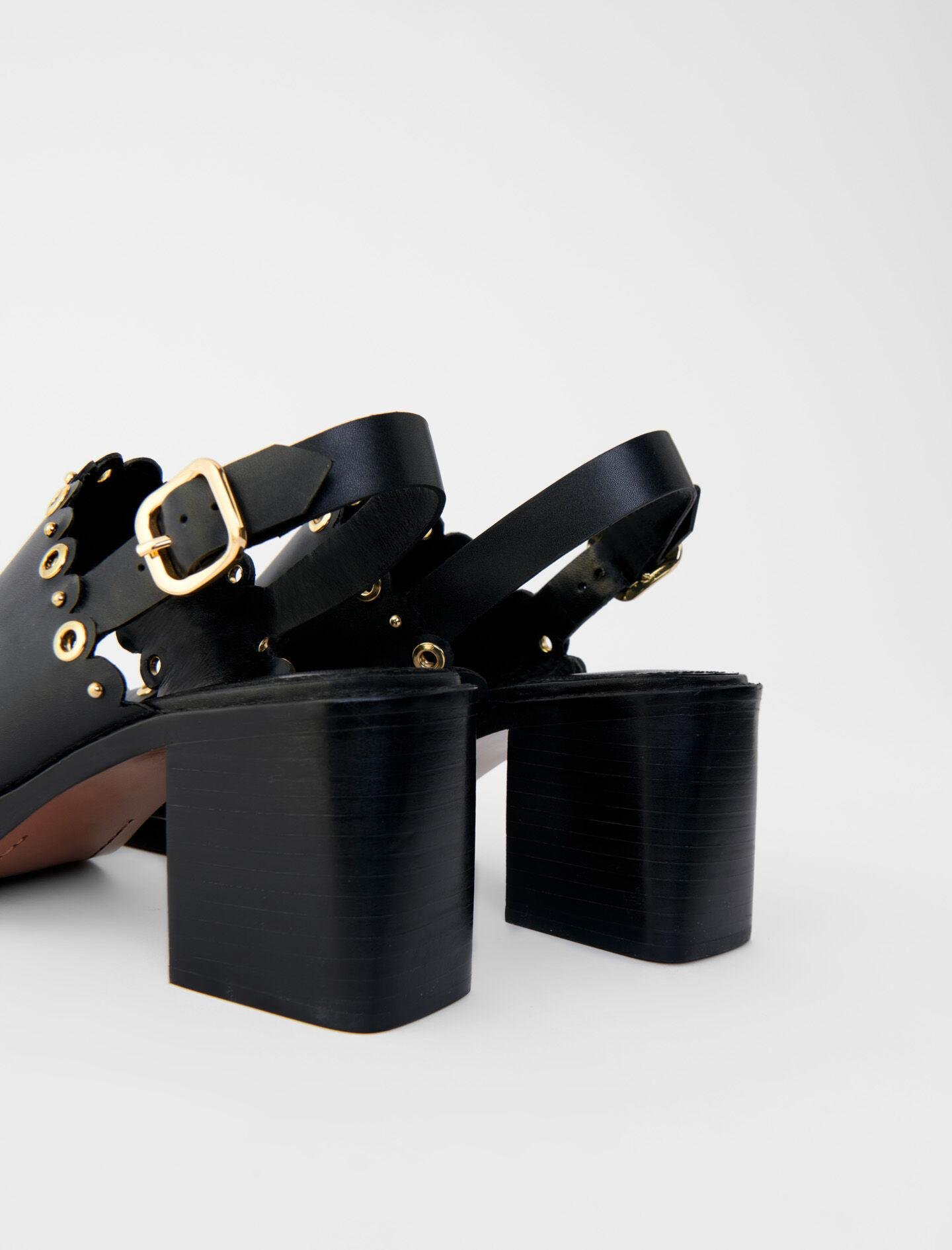 HIGH-HEELED LEATHER SANDALS WITH EYELETS 3