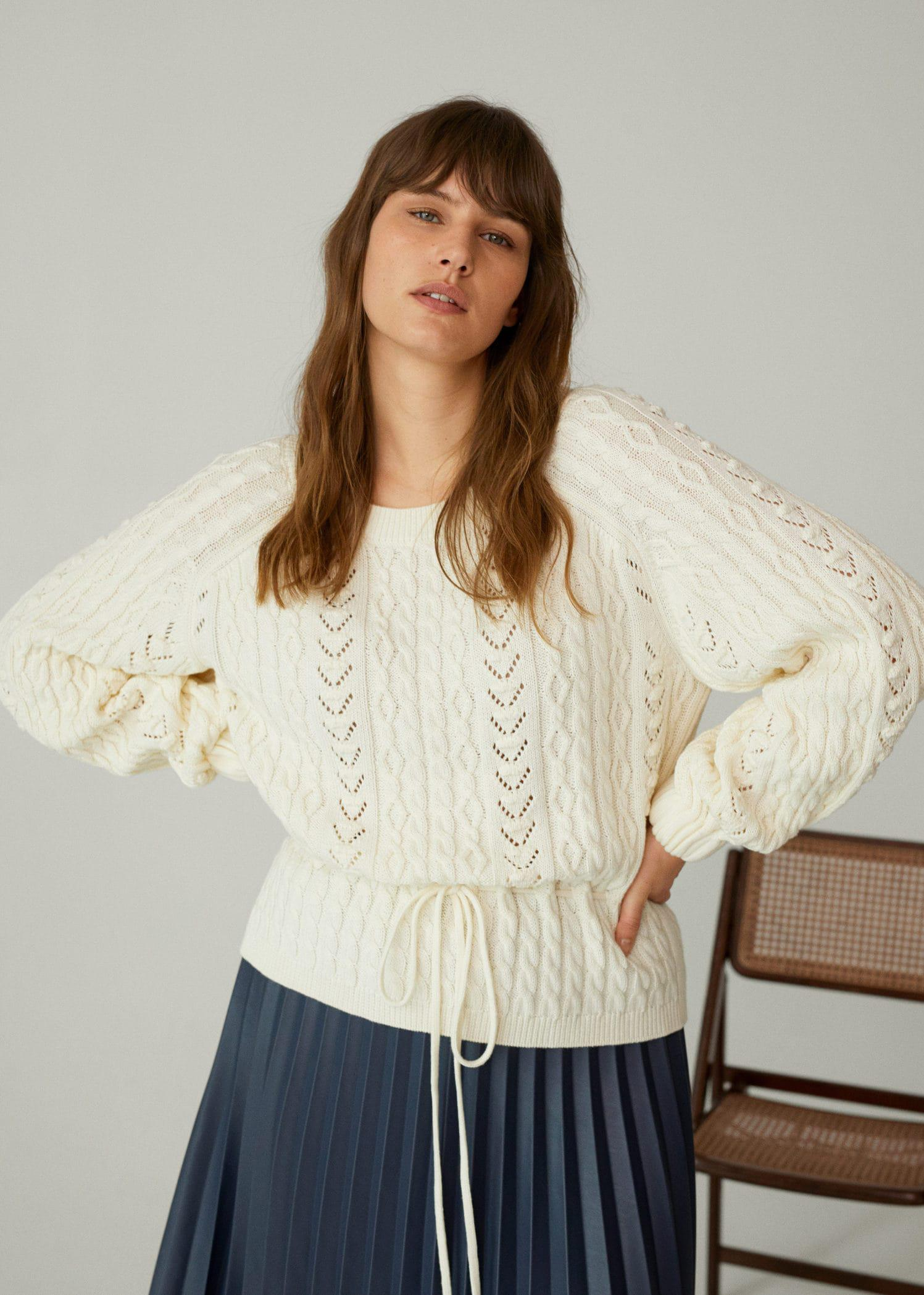 Openwork cable-knit sweater 5
