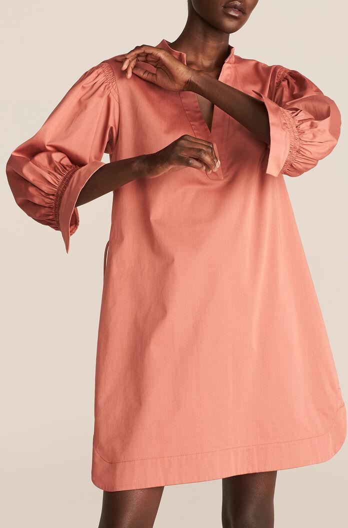 LONG SLEEVE TWILL BELTED DRESS
