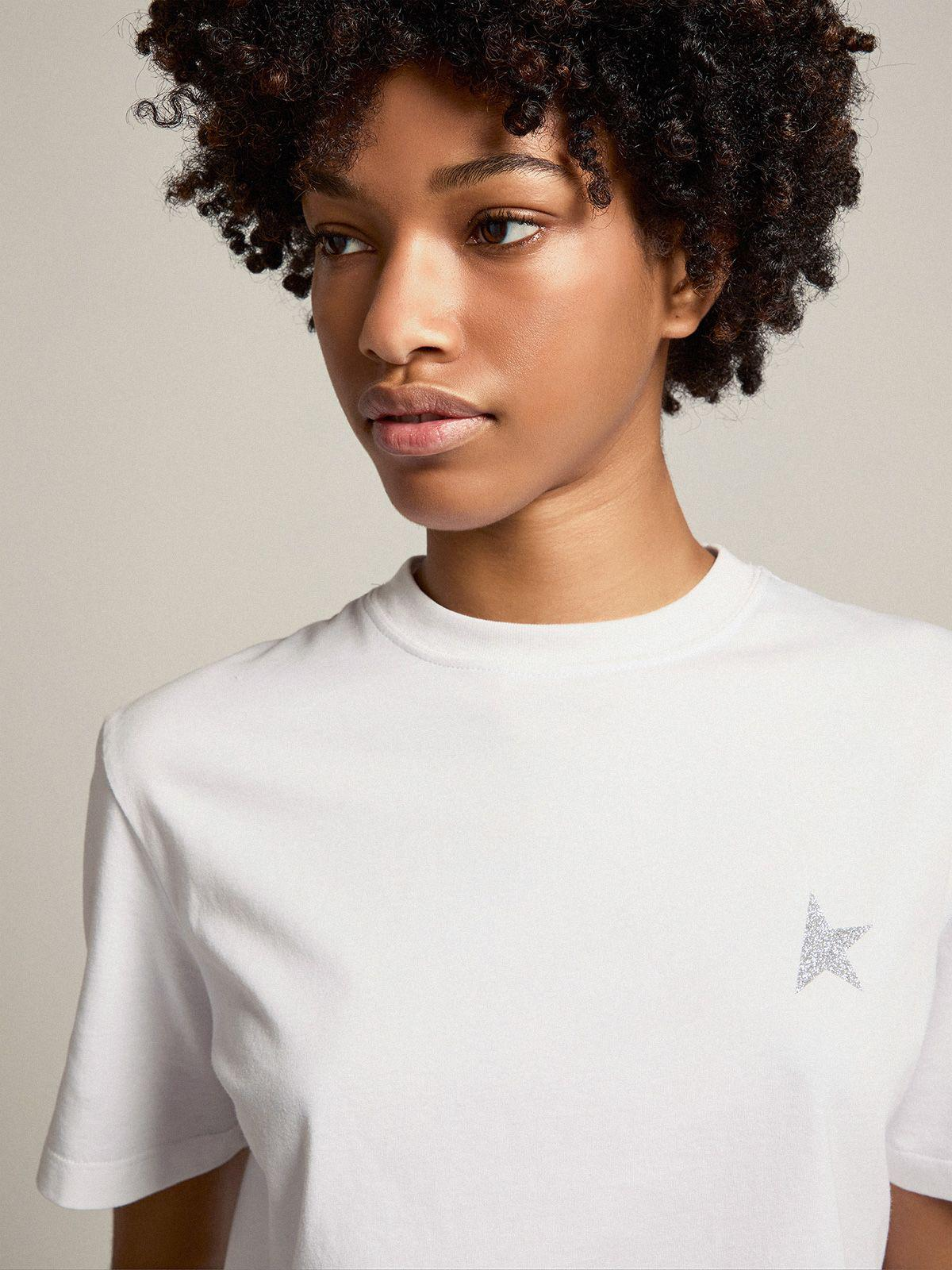 White Star Collection T-shirt with star in silver glitter on the front