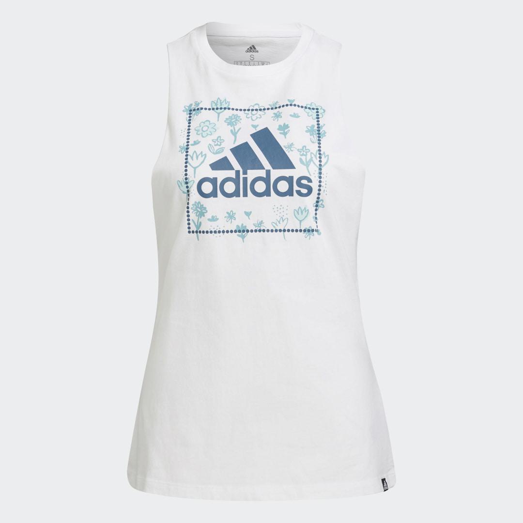 Soft Floral Box Graphic Tank Top White 6
