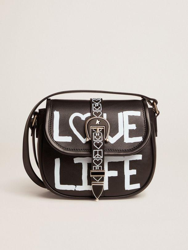 Small black leather Rodeo Bag with 'Love Life' screen print