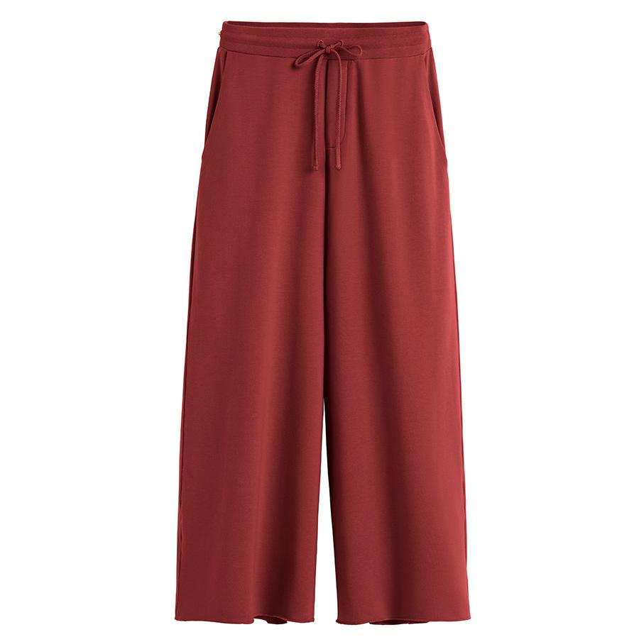 Women's French Terry Wide-Leg Cropped Pant in Brick | Size: