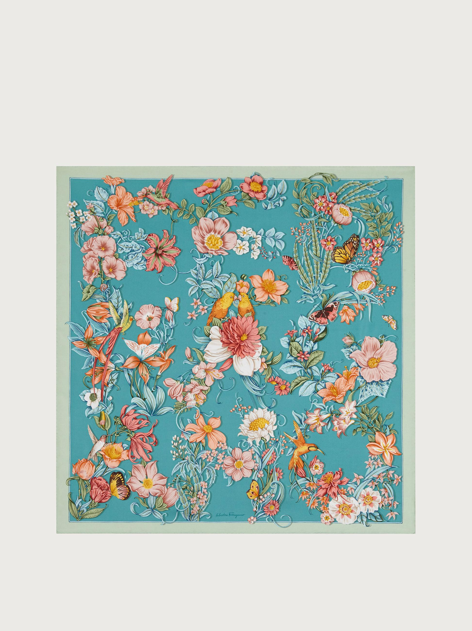 FLOWERS AND LETTERS SILK PRINT FOULARD