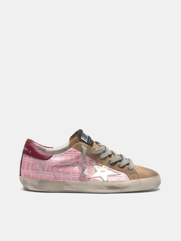 Super-Star sneakers in pink crocodile-print leather with platinum star