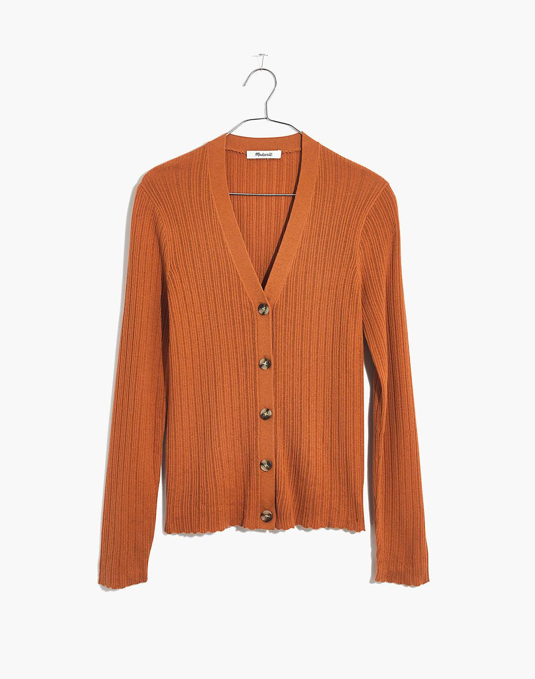 Pointelle Ribbed Cardigan Sweater 1
