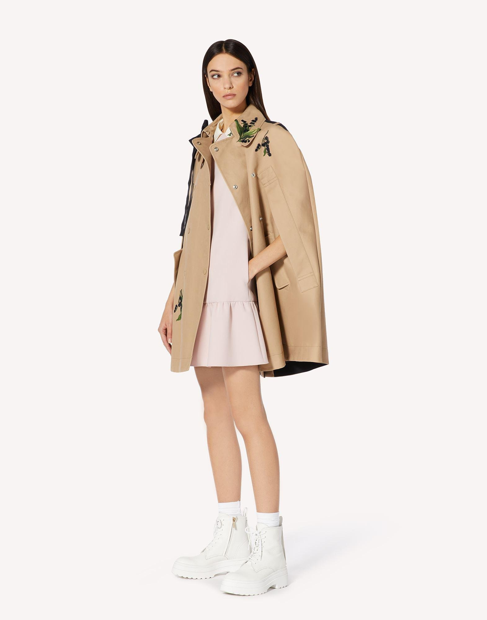 MAY LILY EMBROIDERED TRENCH CAPE WITH BOW DETAIL 2