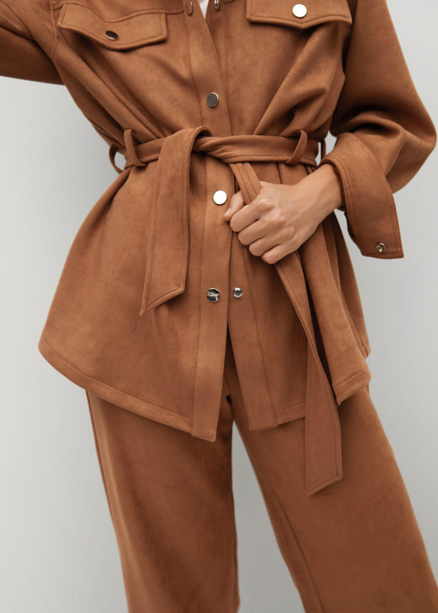 Leather-effect jacket with belt 5