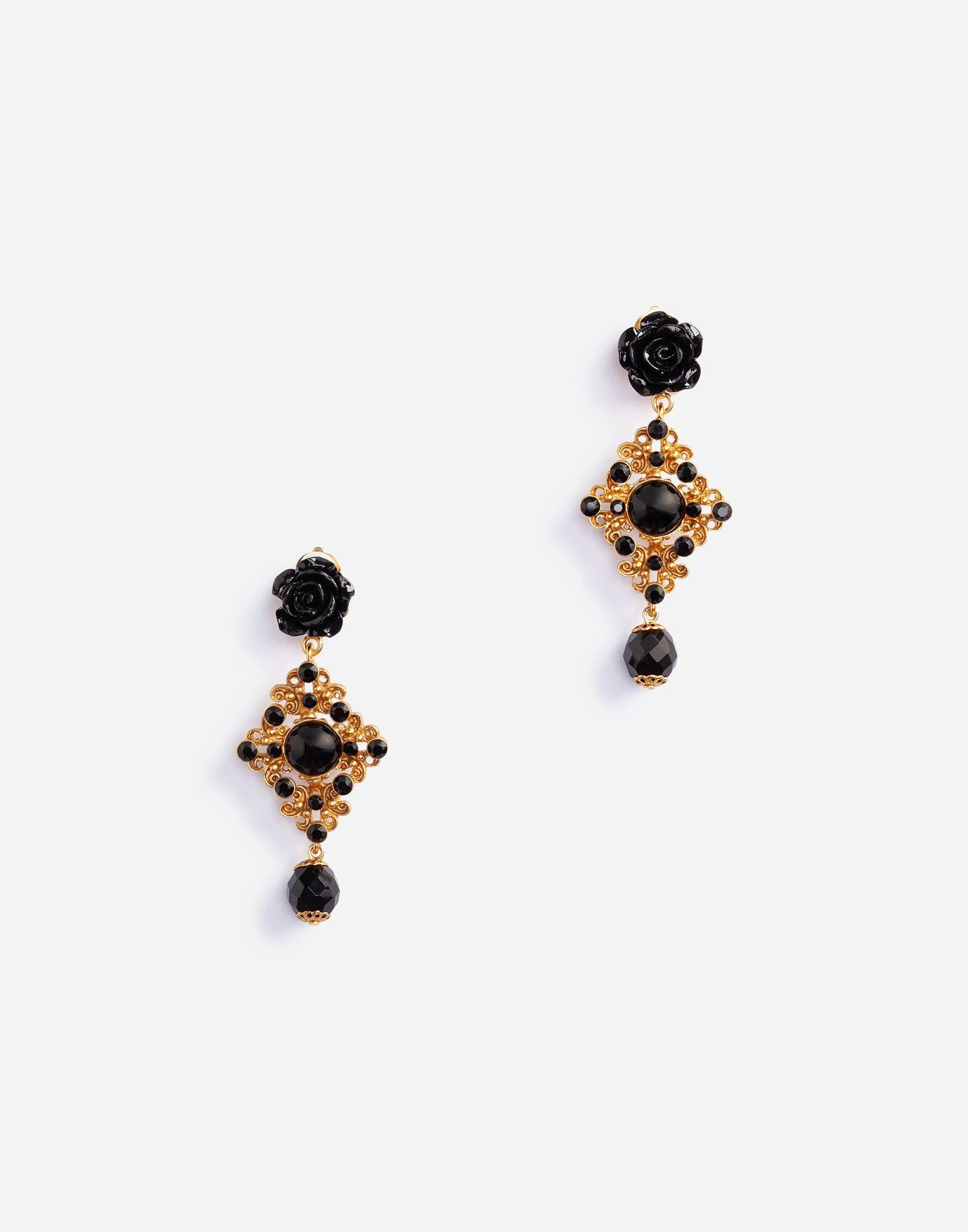 Clip-on drop earrings with roses and stones