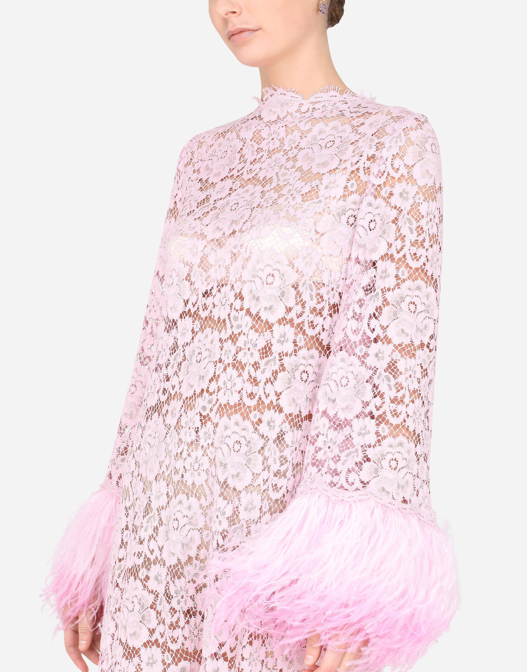 Lace caftan with marabou trim 3