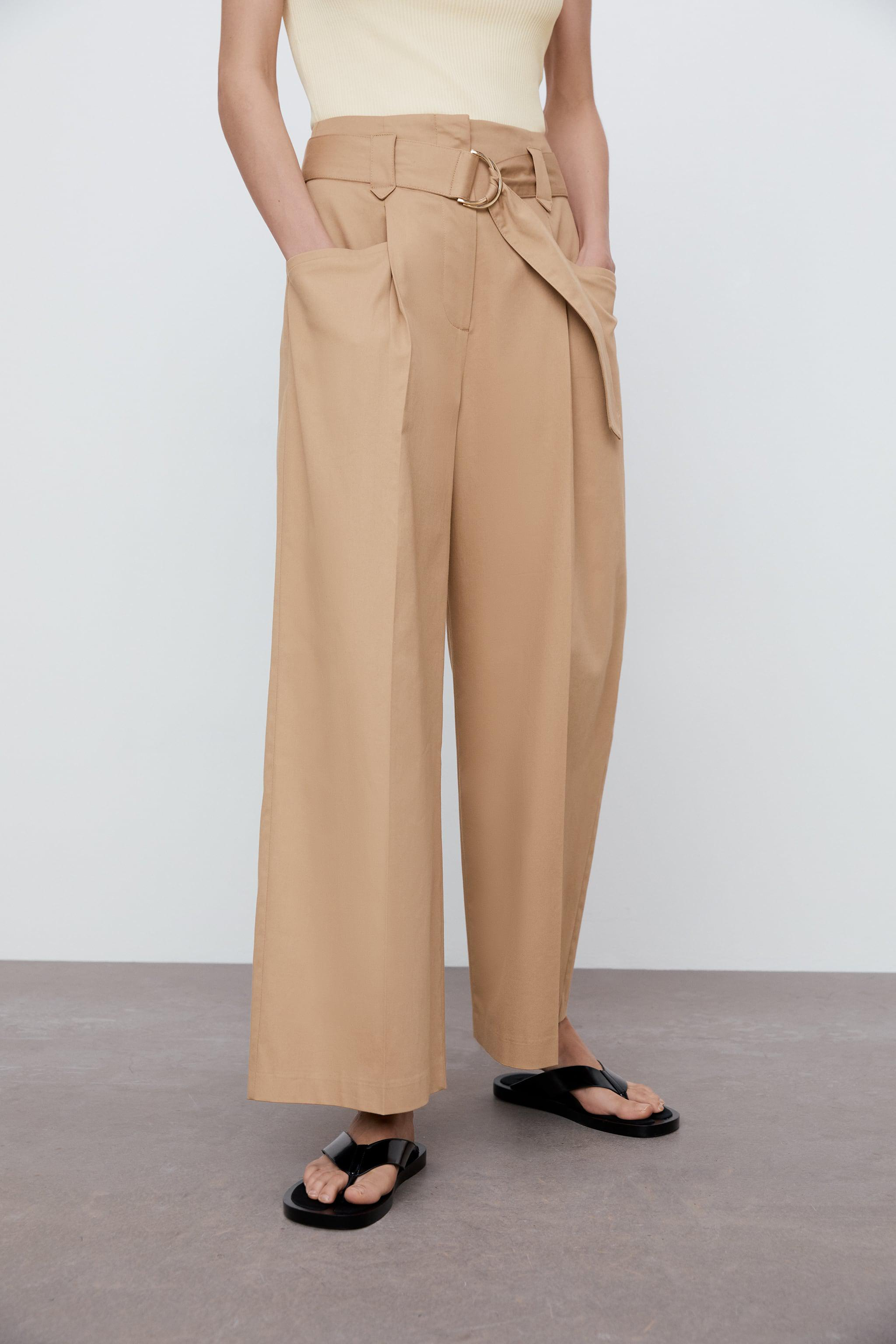 WIDE LEG BELTED PANTS 1