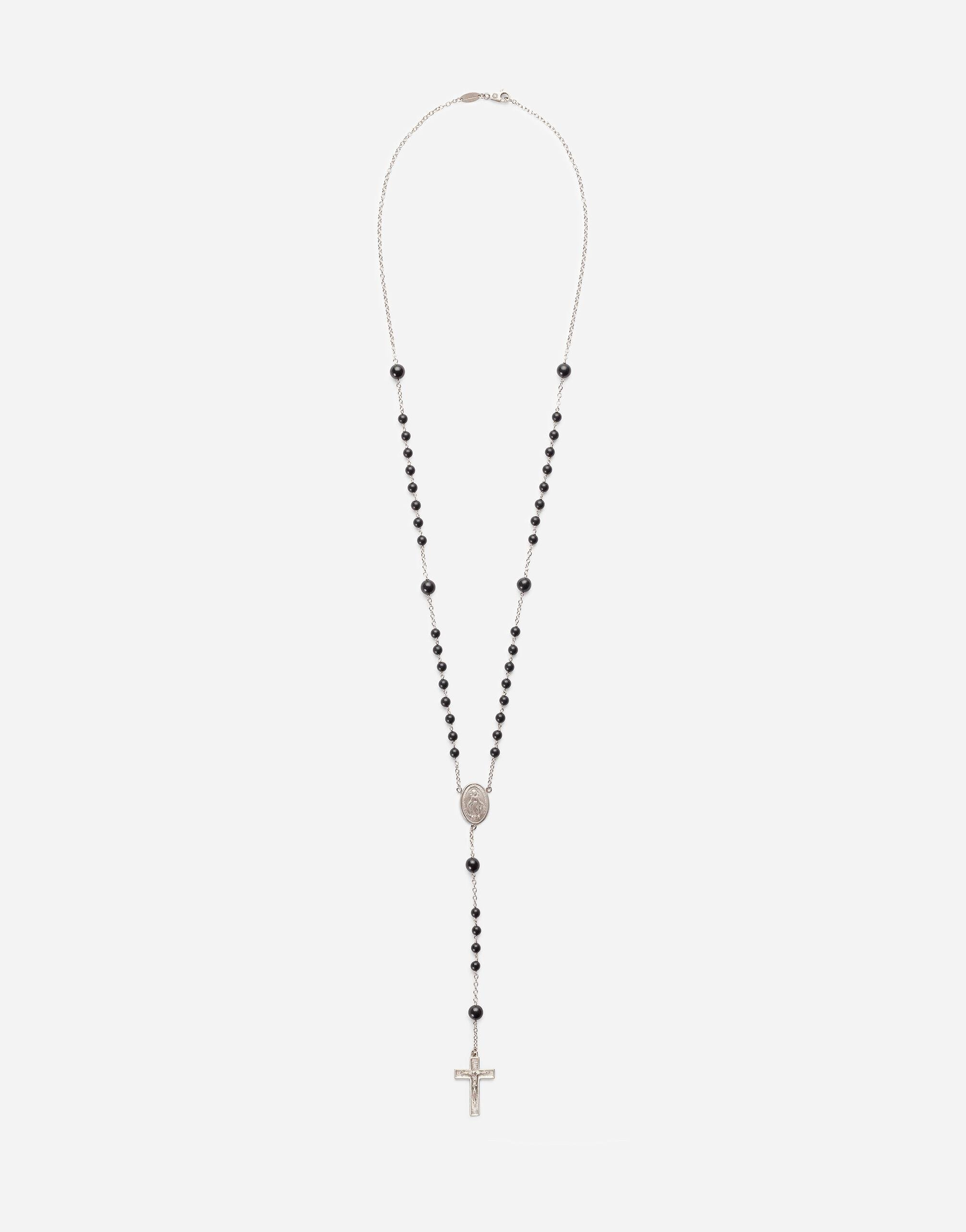 Tradition rosary necklace in yellow gold with black jades beads
