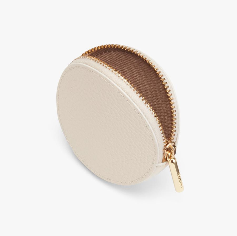 Women's Leather Coin Pouch in Ecru | Pebbled Leather by Cuyana 1