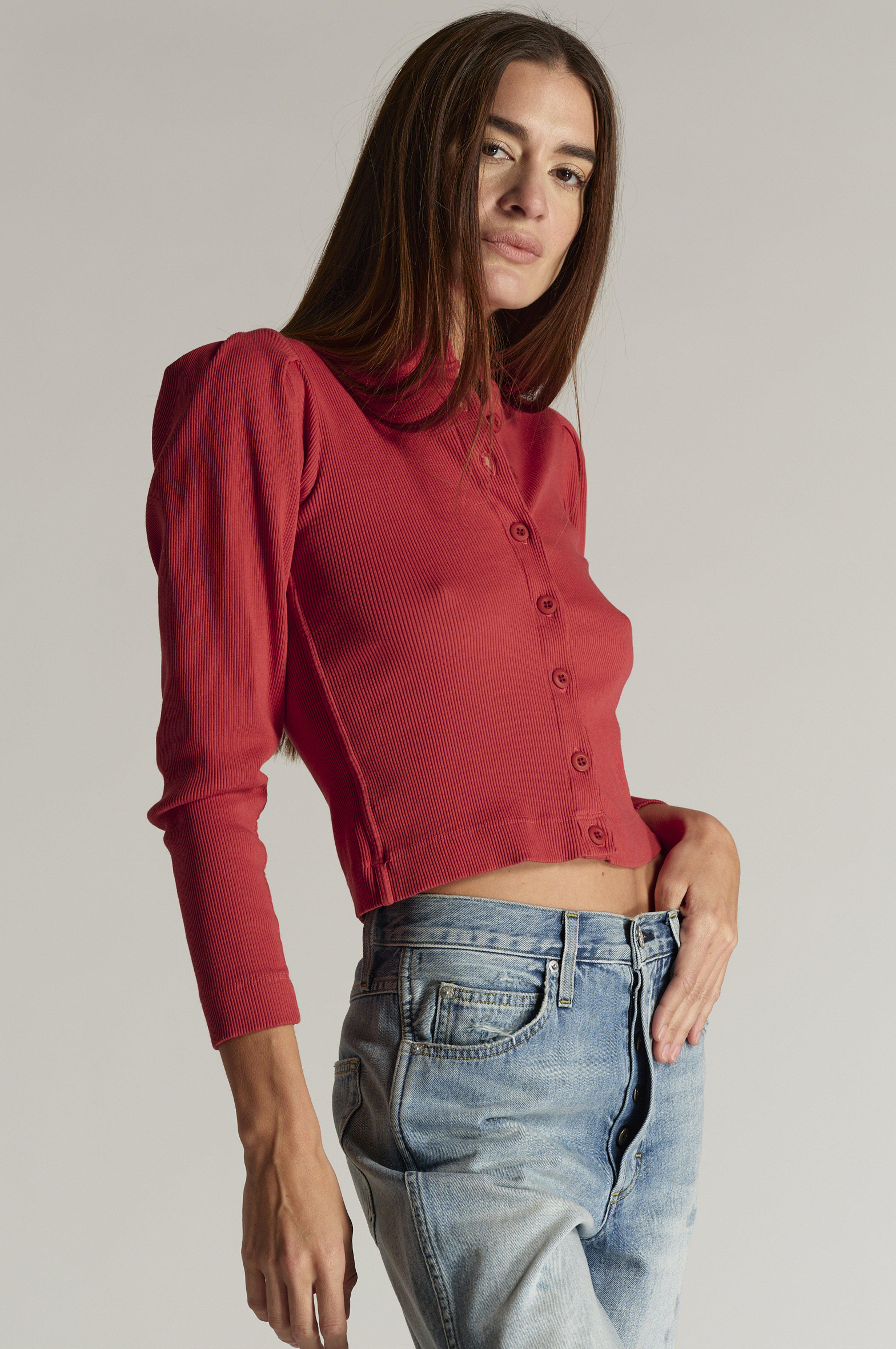 PUFF SLEEVE CARDIGAN WASHED RED
