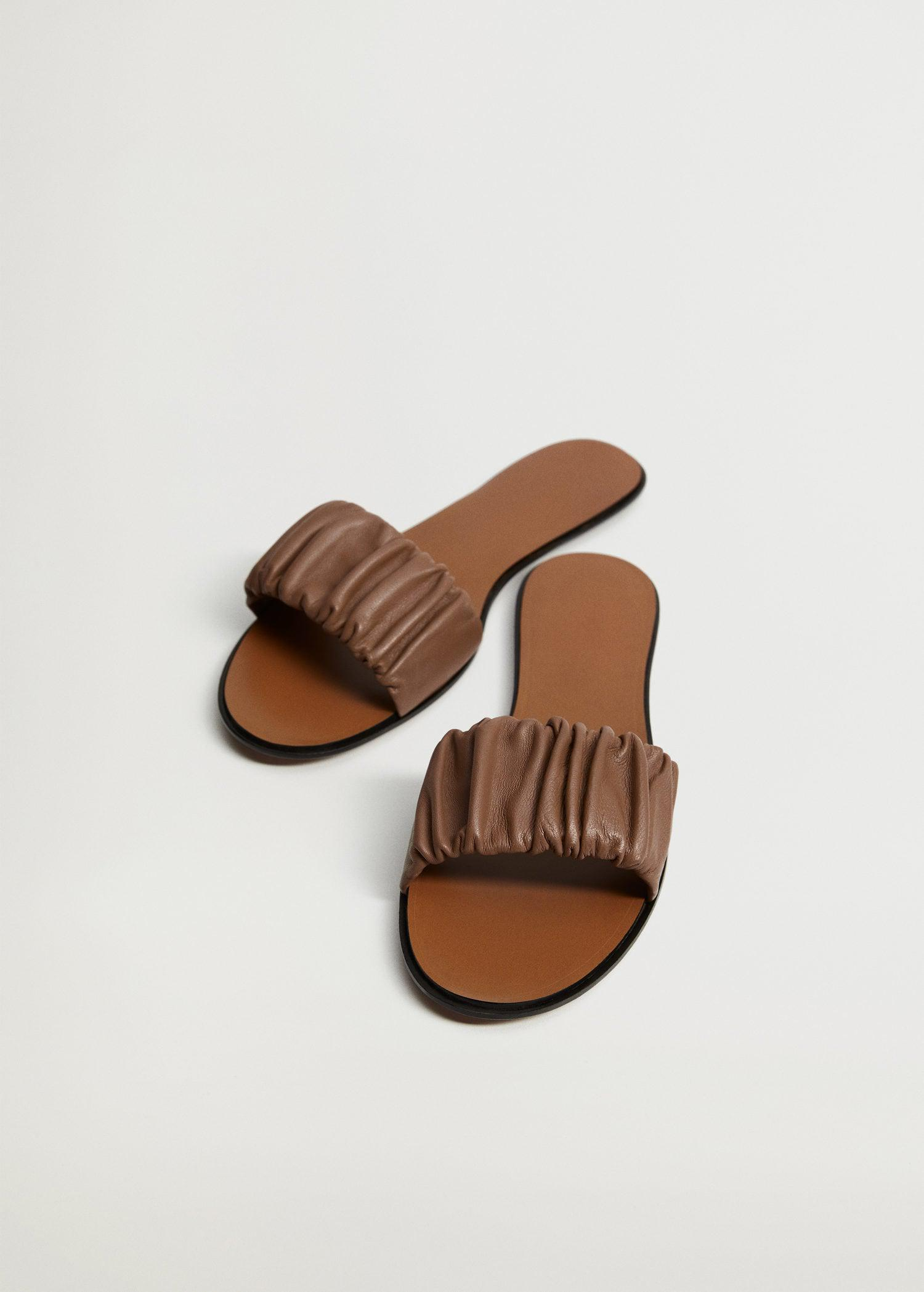 Ruched leather sandals 1