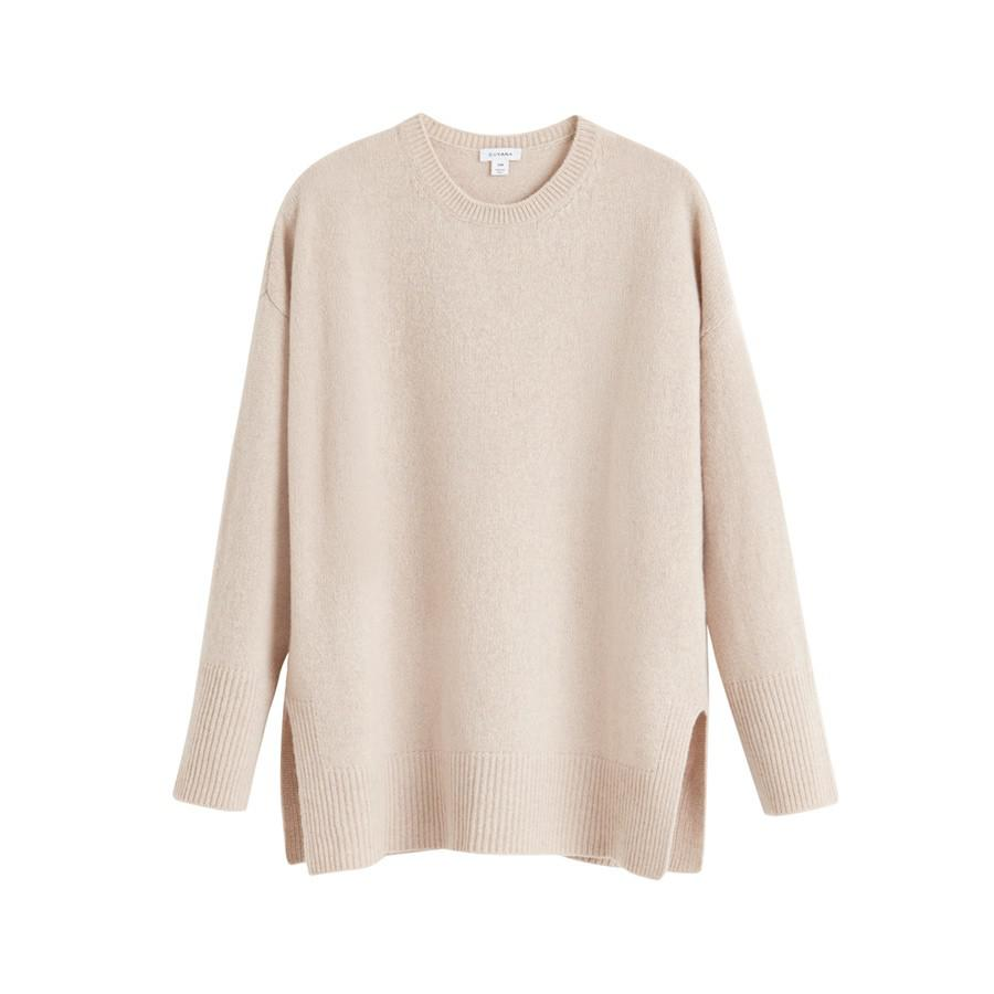 Women's Recycled Crewneck Sweater in Beige | Size: