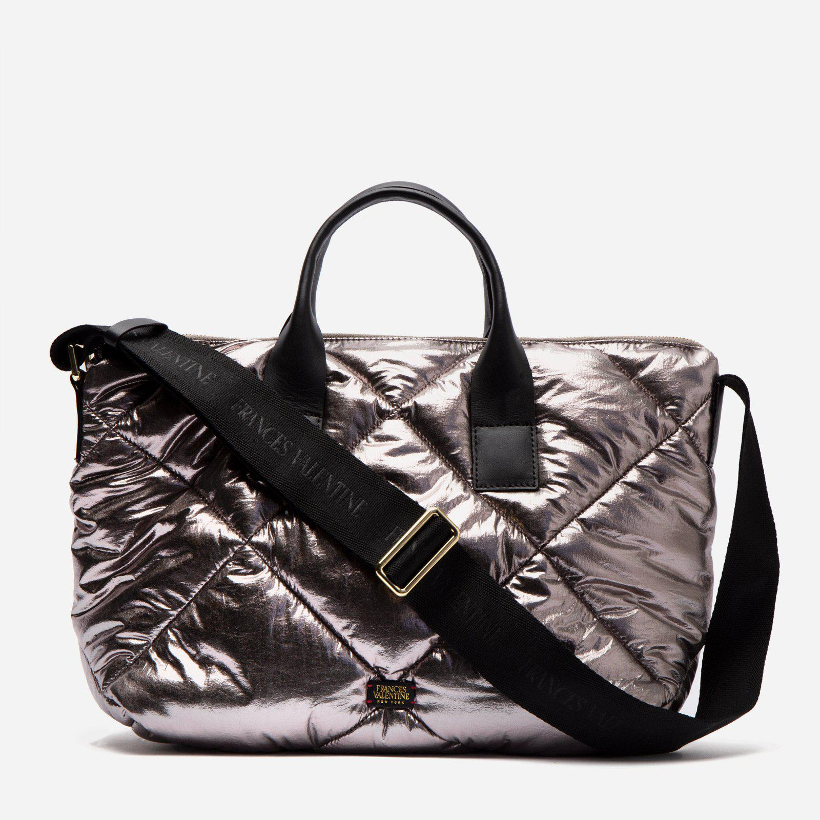 Elliot Tote Quilted Satin Nylon Silver