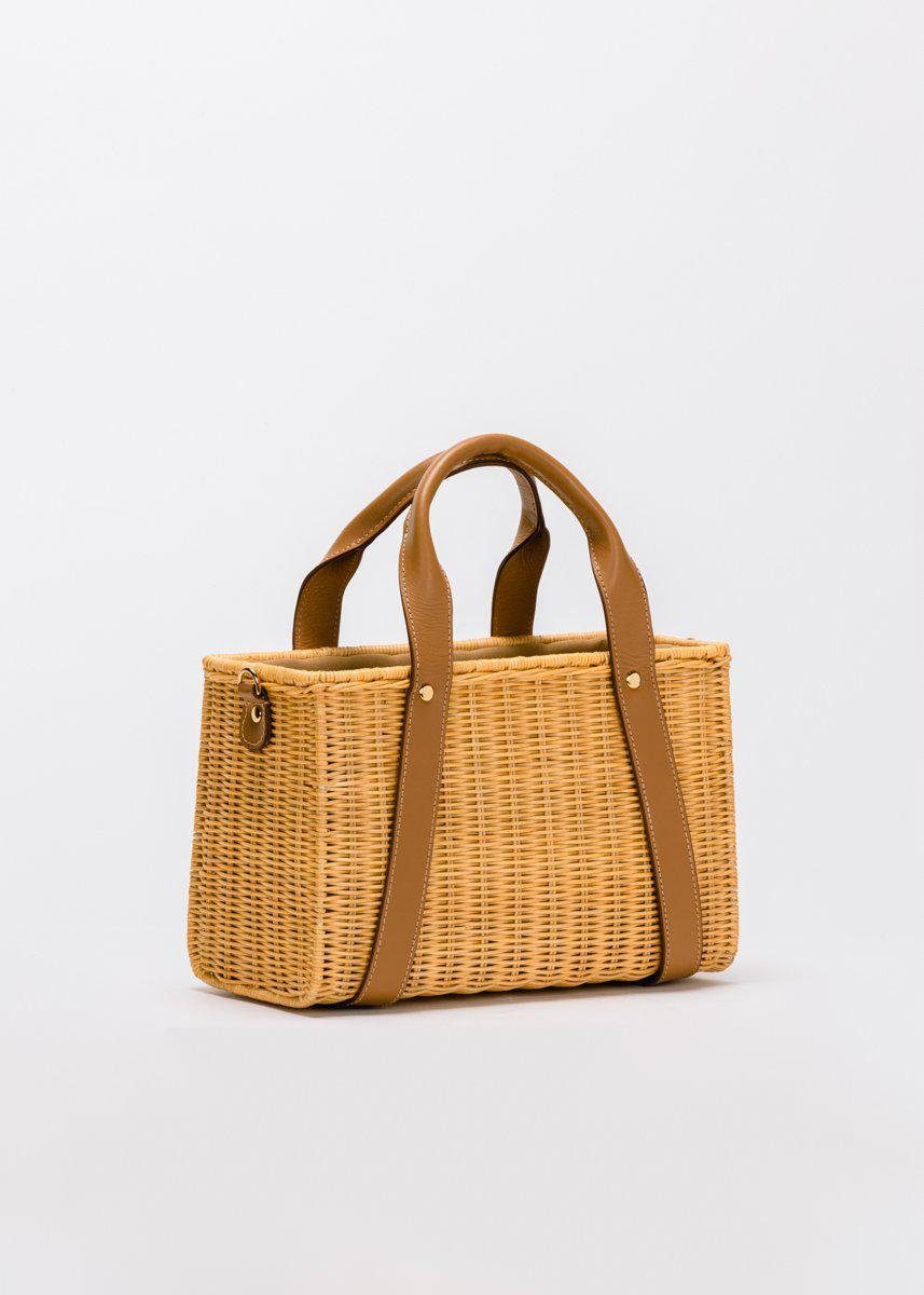Daisy Leather-Trimmed Wicker Tote 2