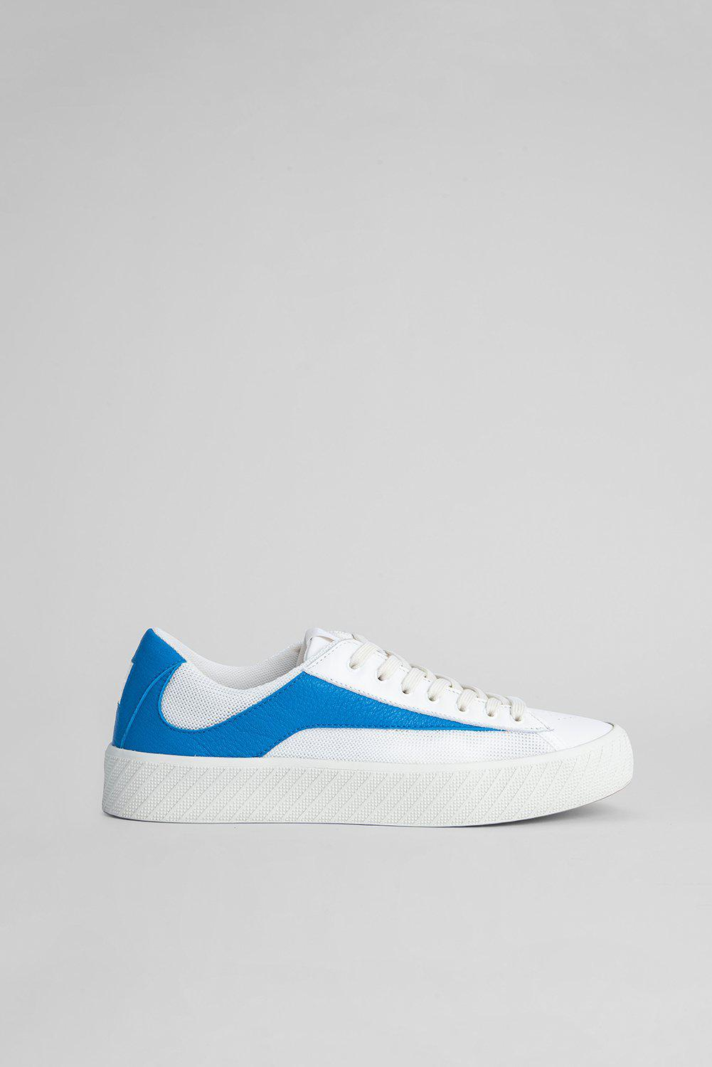 Rodina White And Blue Grained Leather