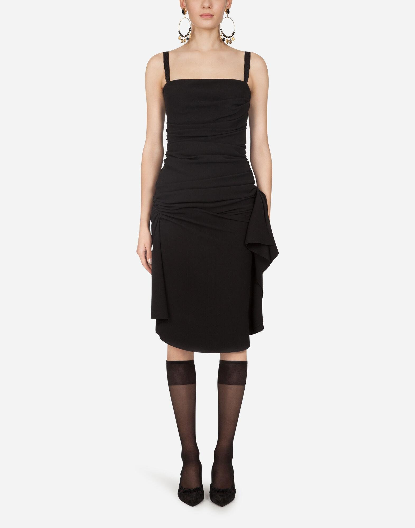 Longuette dress in tulle with draping