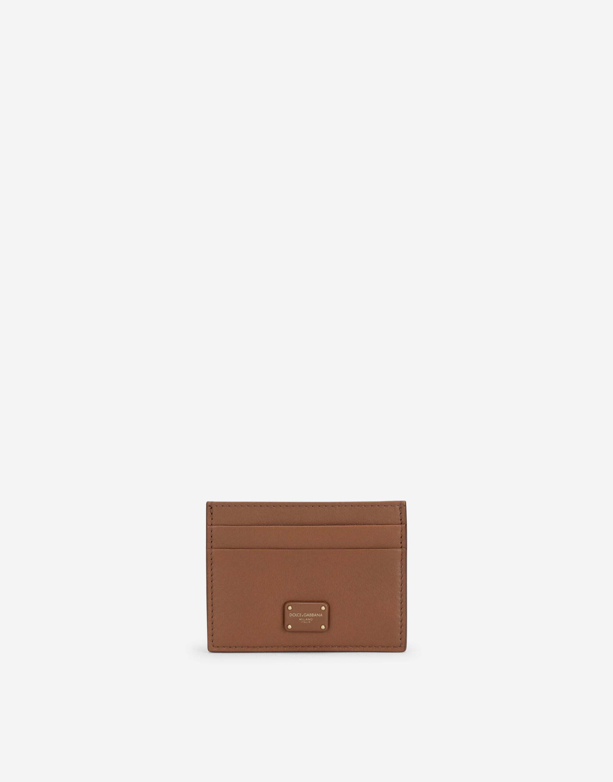 Calfskin card holder with branded plate