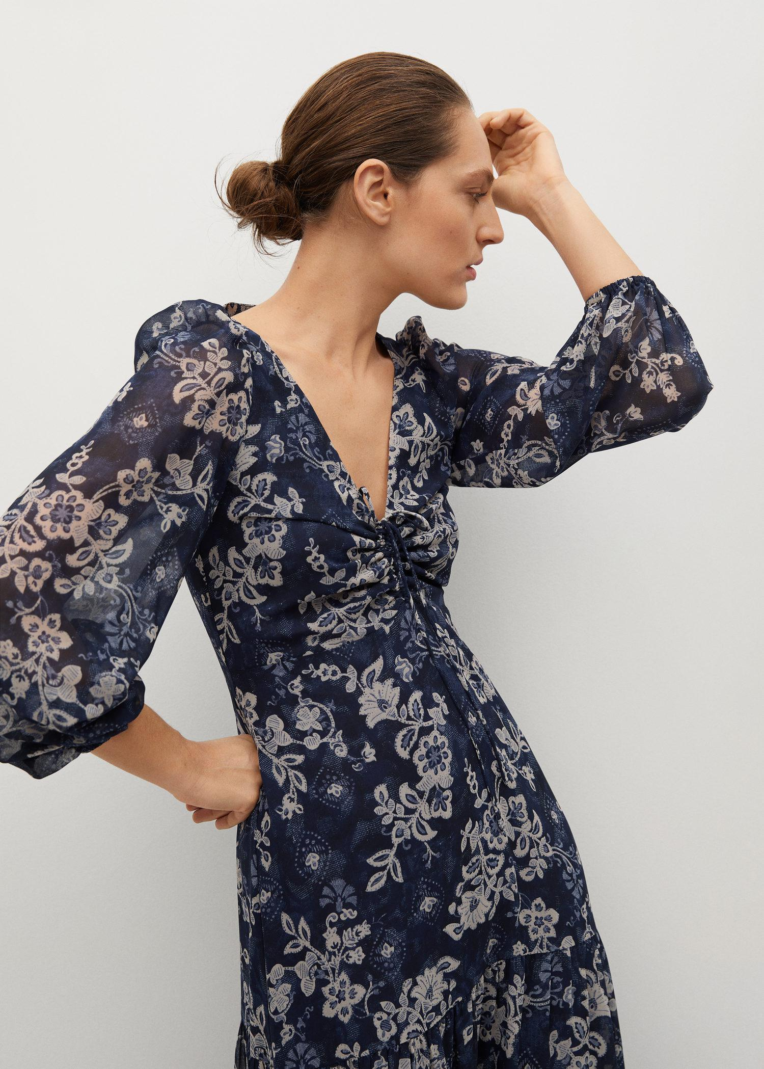 Ruched detail flower dress