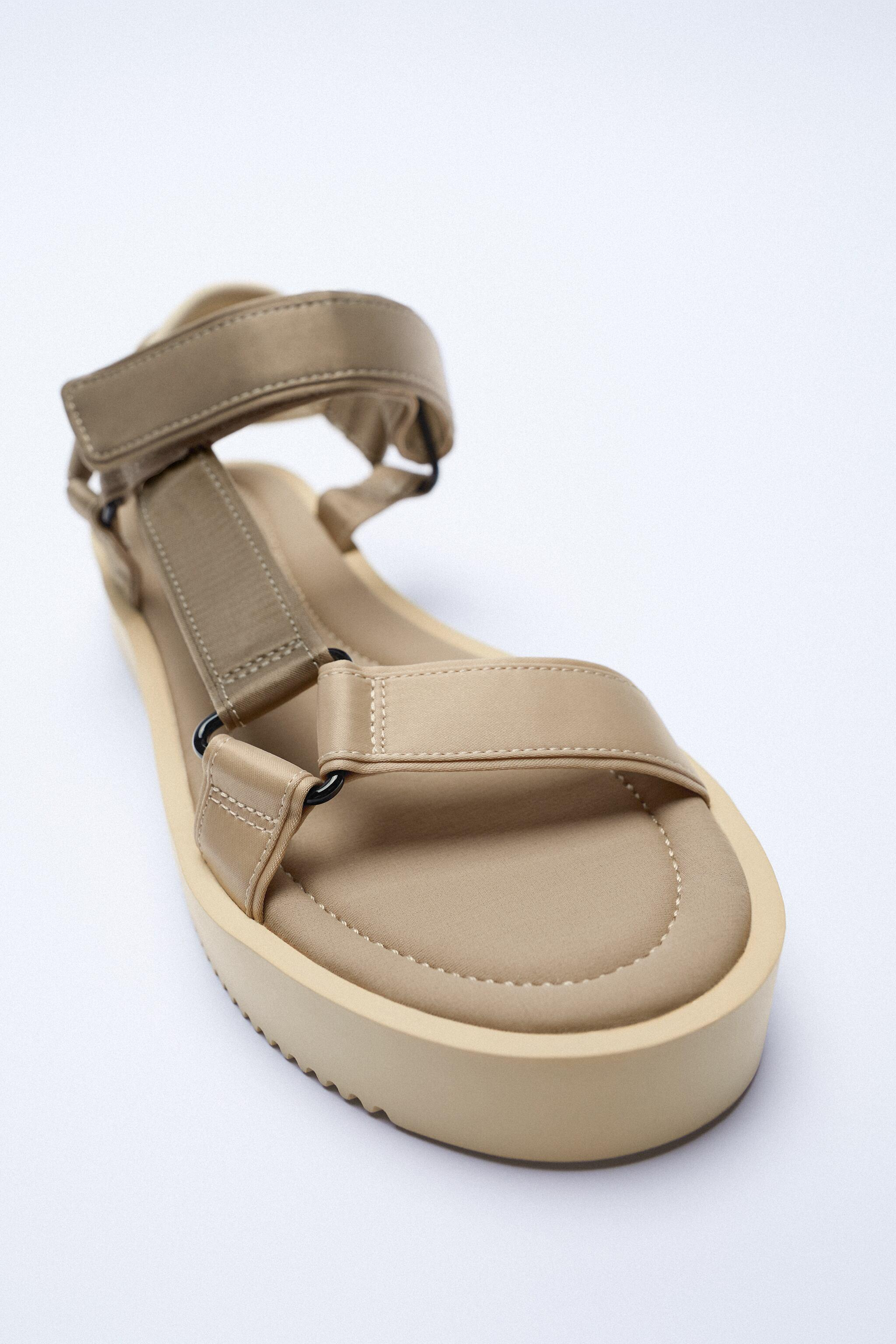 STRAPPY SATIN EFFECT CHUNKY SANDALS 4