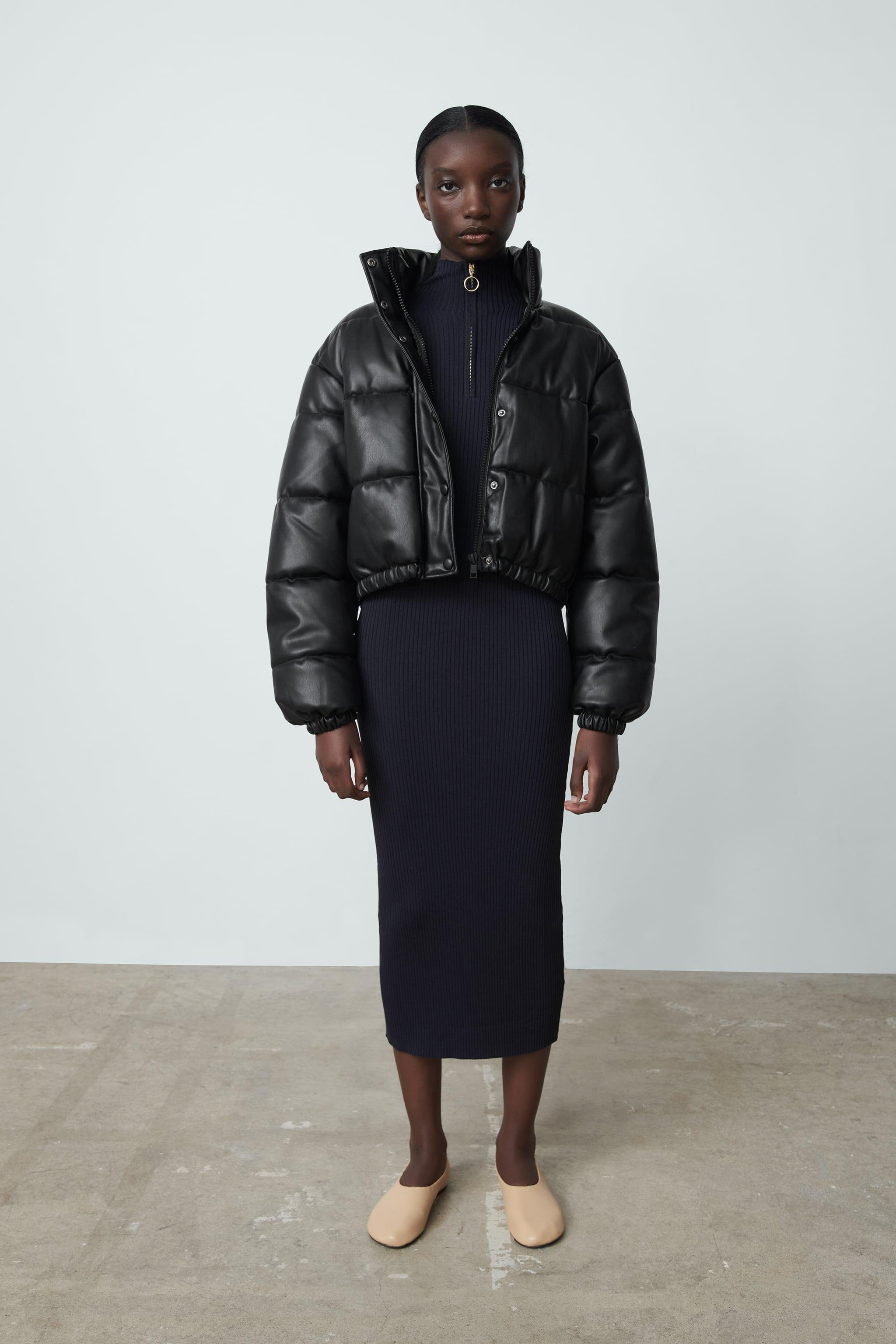 FAUX LEATHER PUFFER JACKET 0