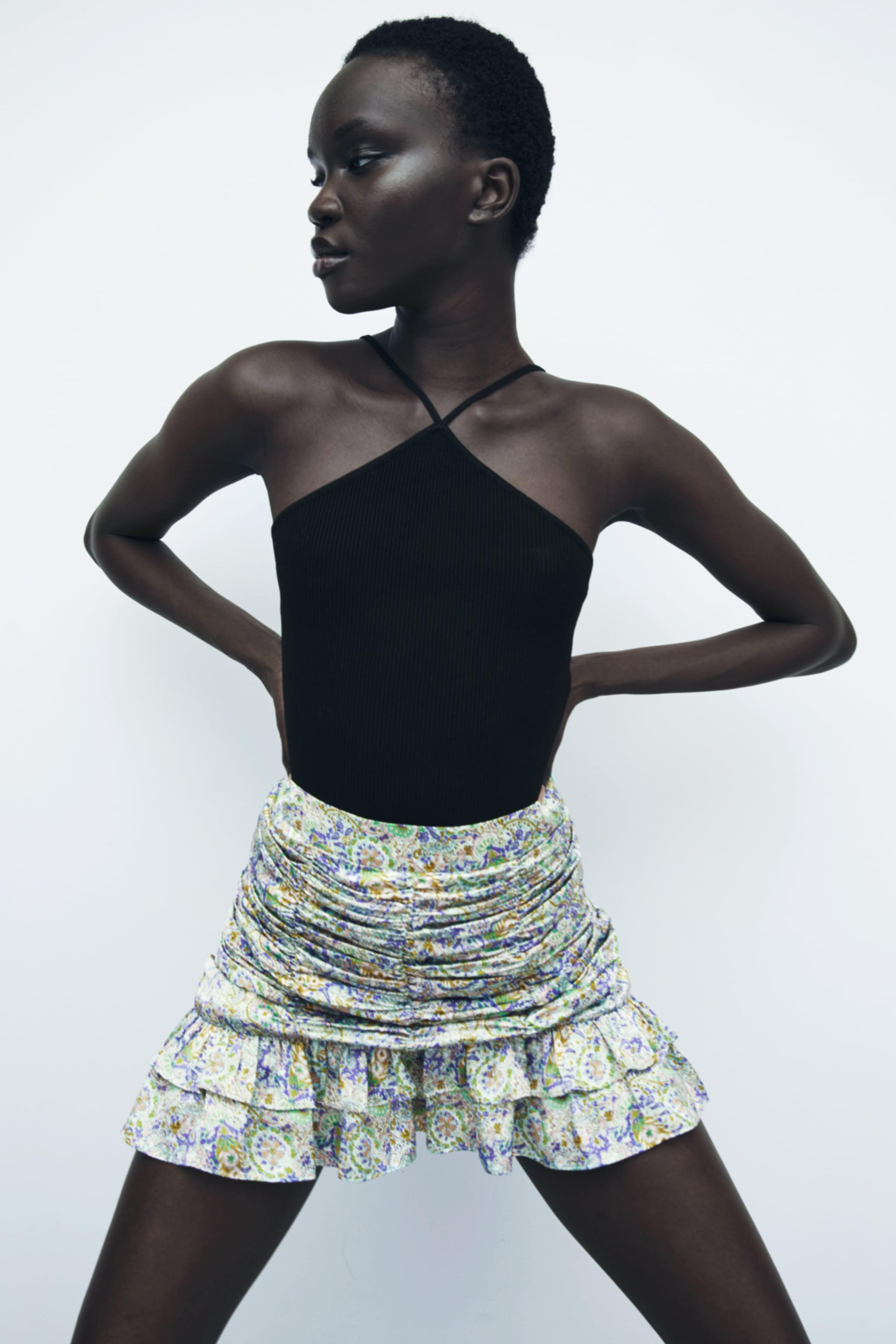 RUCHED PRINTED SKIRT 1