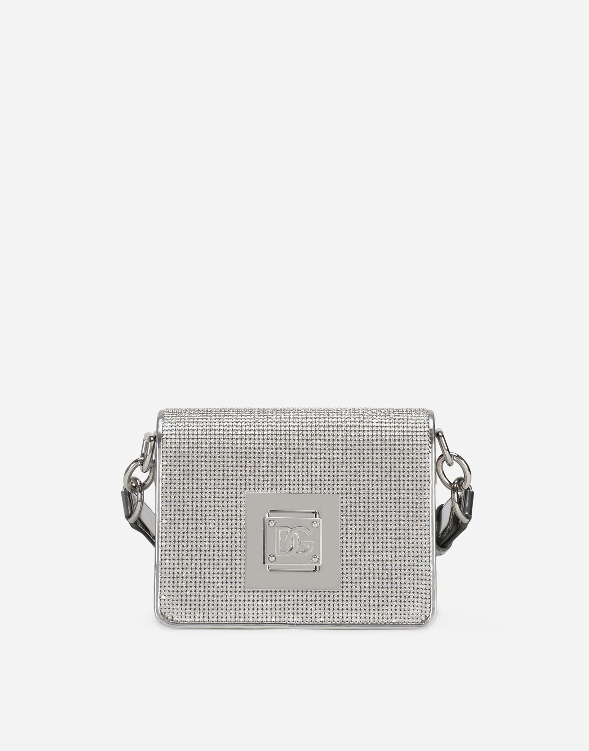 Small shoulder bag in rhinestone-detailed chain with DG fastening