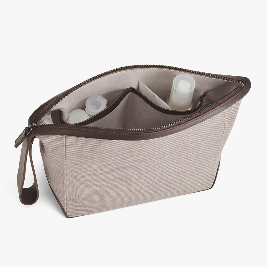 Women's Travel Zipper Pouch in Soft Grey/Dark Brown | Canvas & Smooth Leather by Cuyana 2