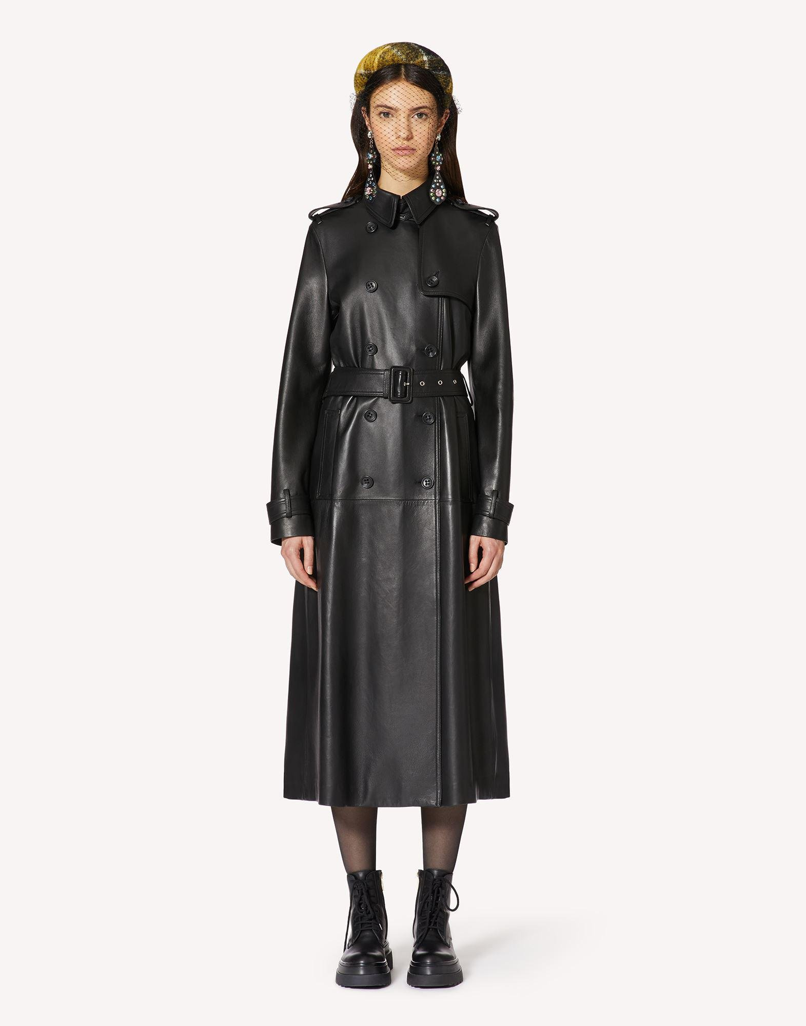 PLEATED LEATHER TRENCH COAT