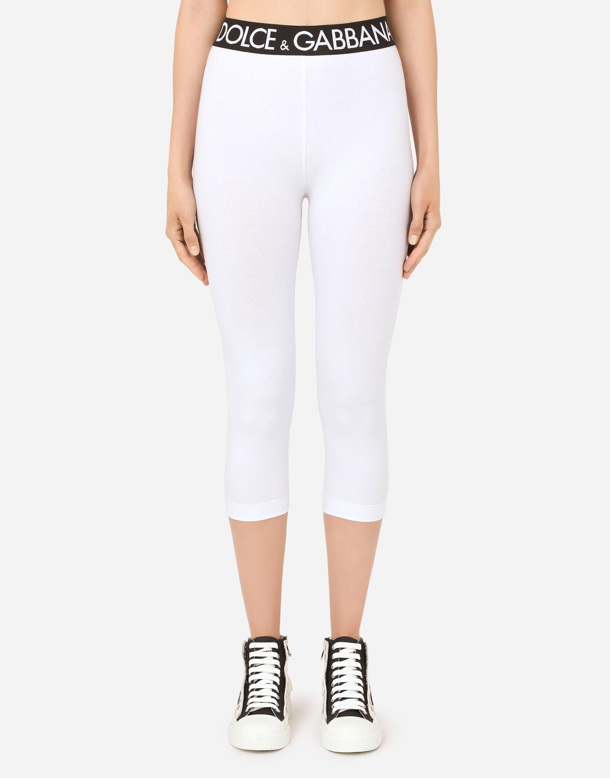 Jersey leggings with branded elastic