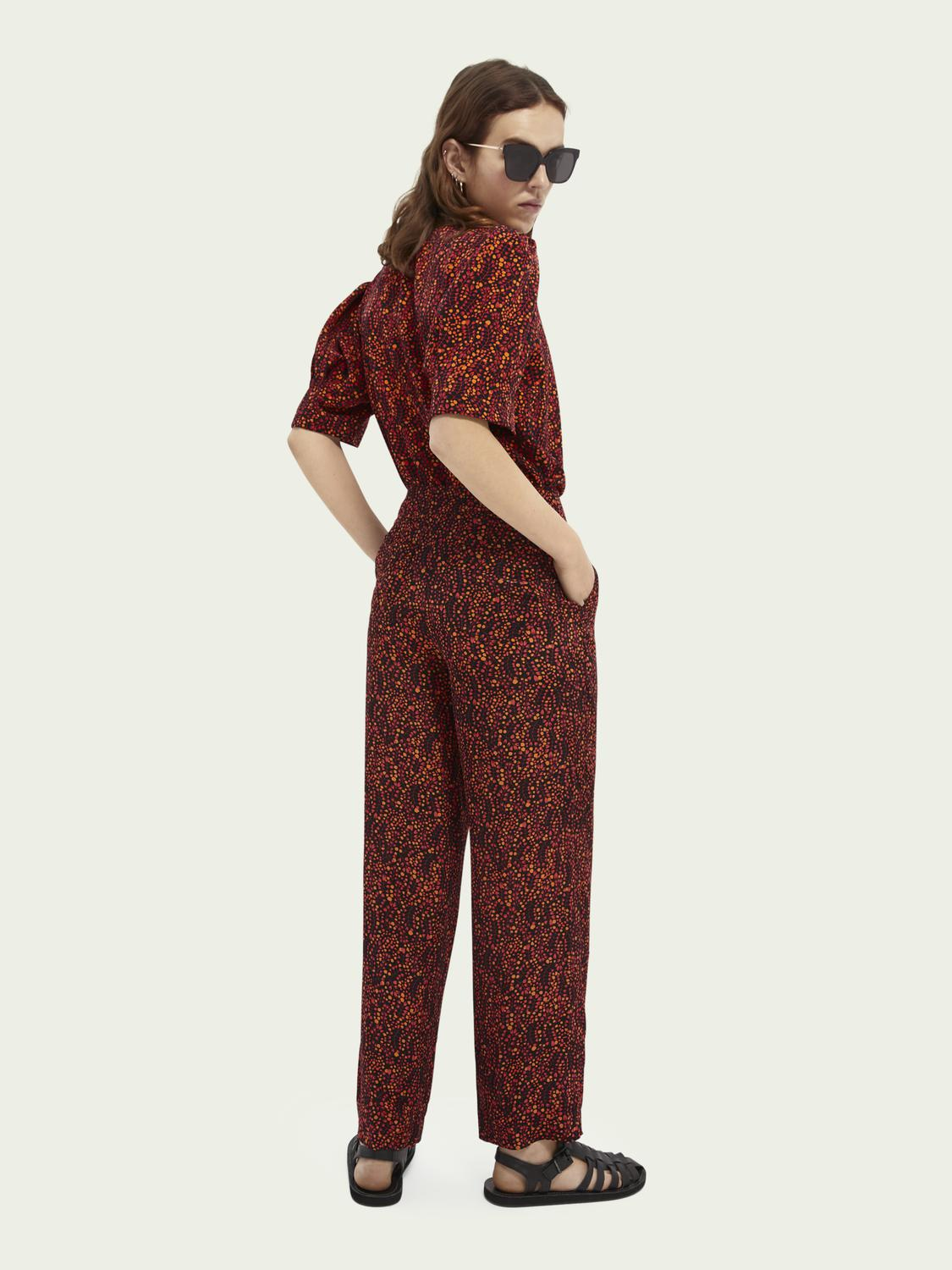 Printed mid-rise trousers 5