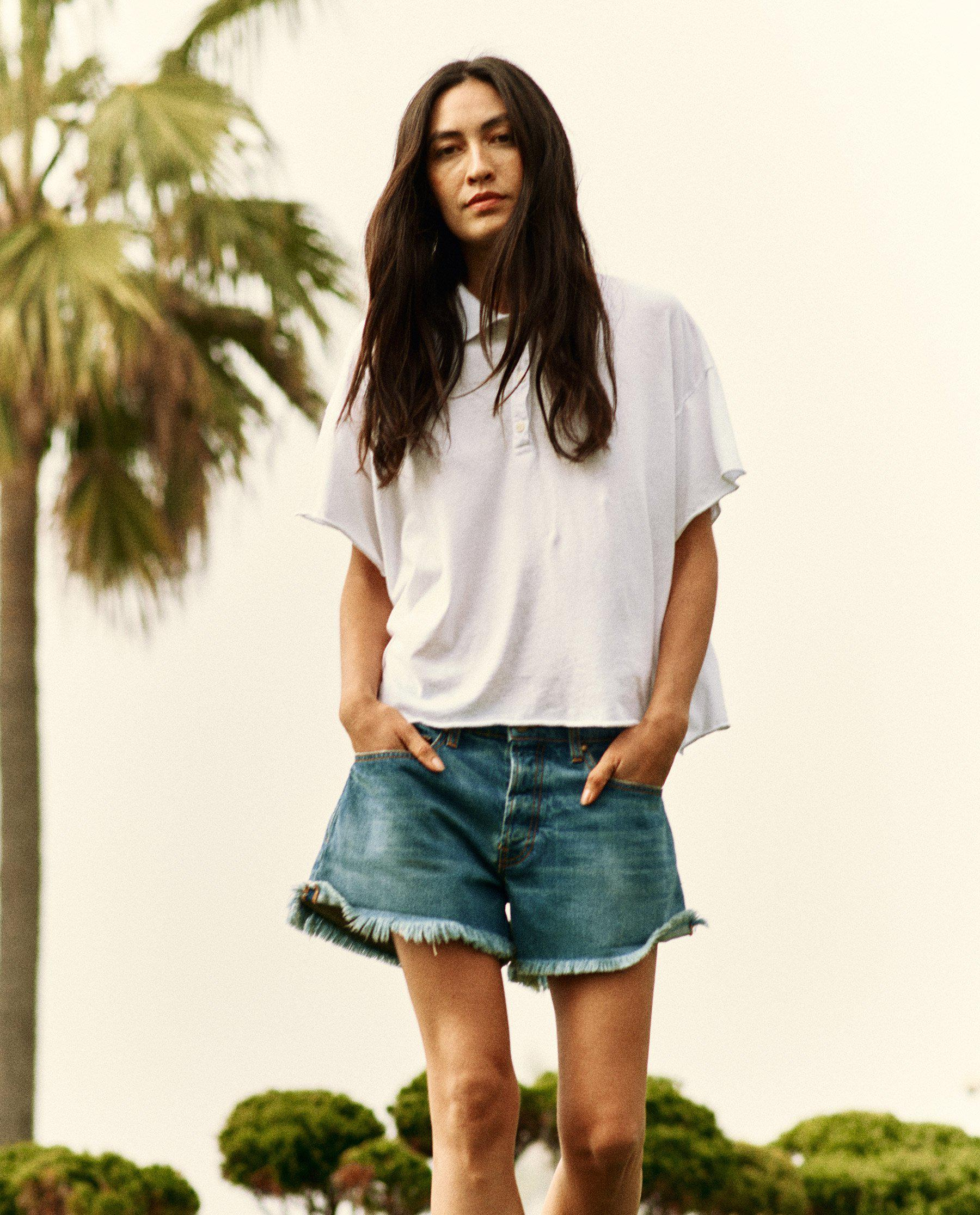 The Cropped Polo Tee. -- True White