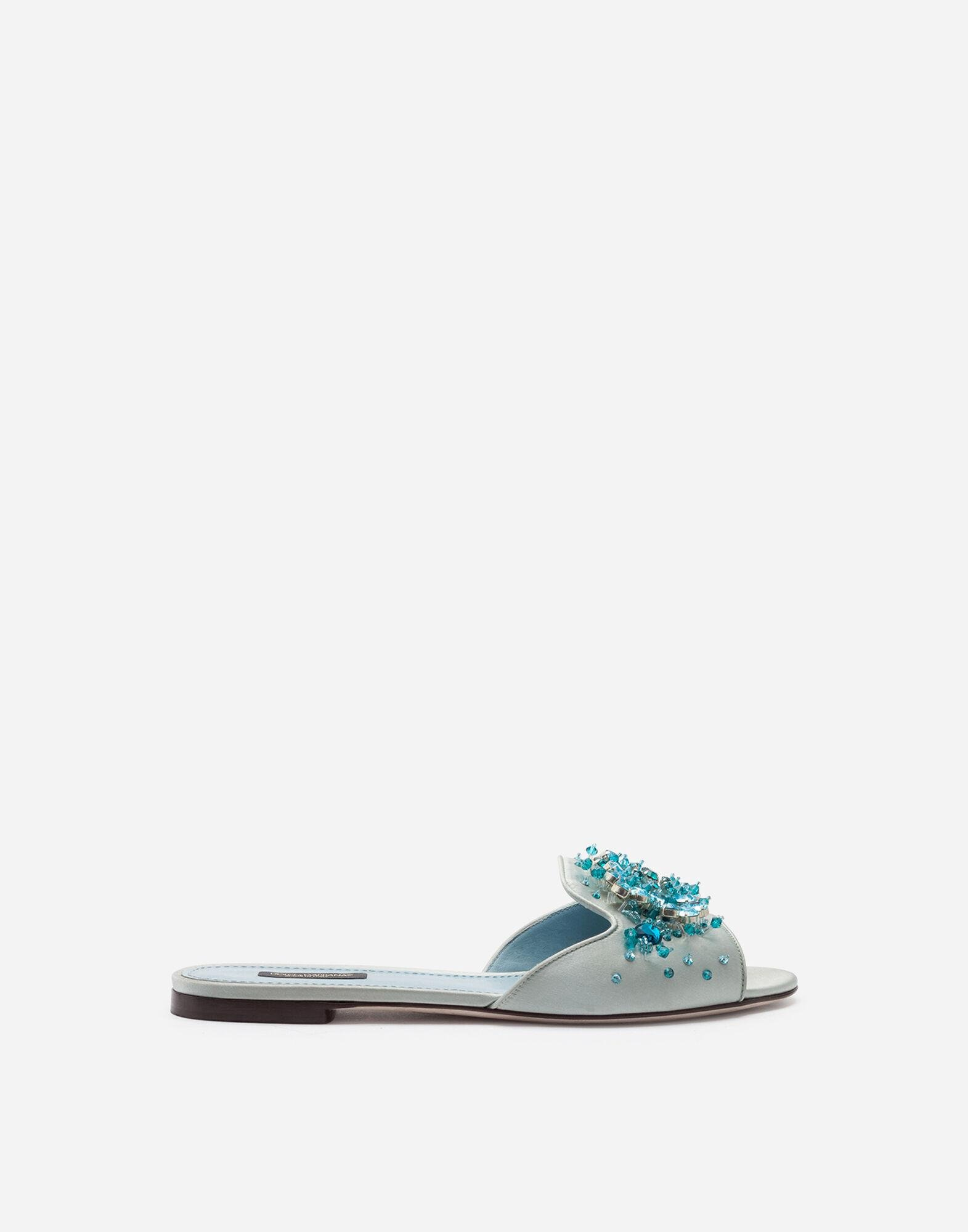 Satin sliders with bejeweled embellishment