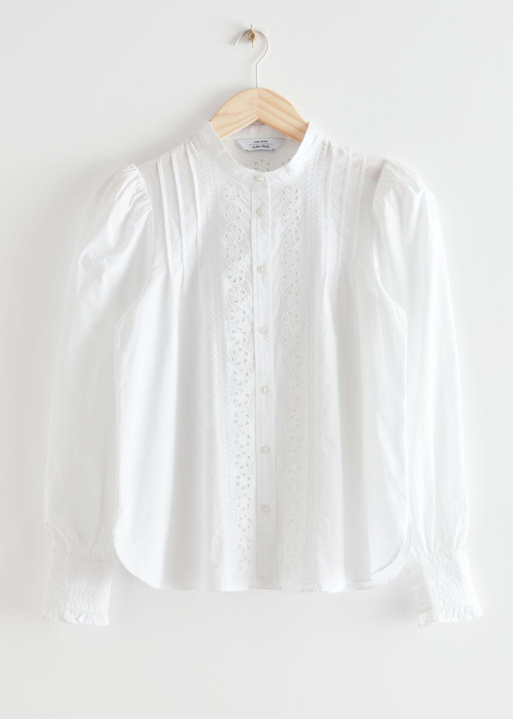 Embroidered A-Line Cotton Blouse