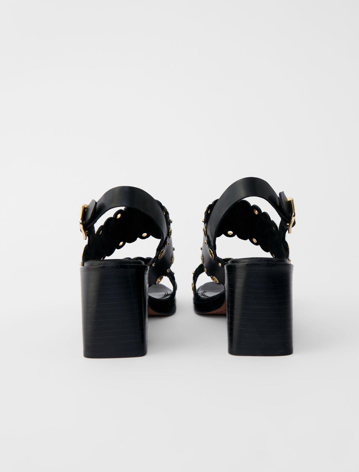 HIGH-HEELED LEATHER SANDALS WITH EYELETS 4