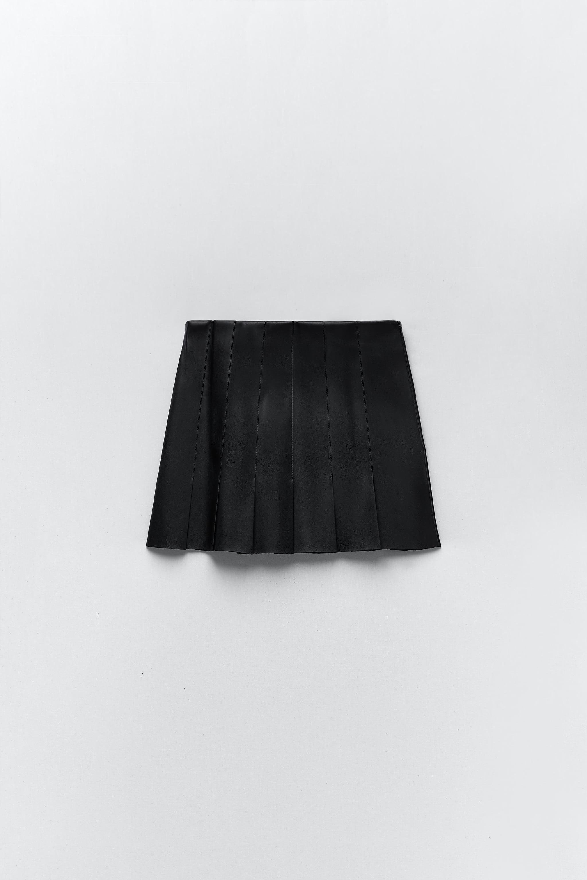 FAUX LEATHER BOX PLEAT SKIRT 7