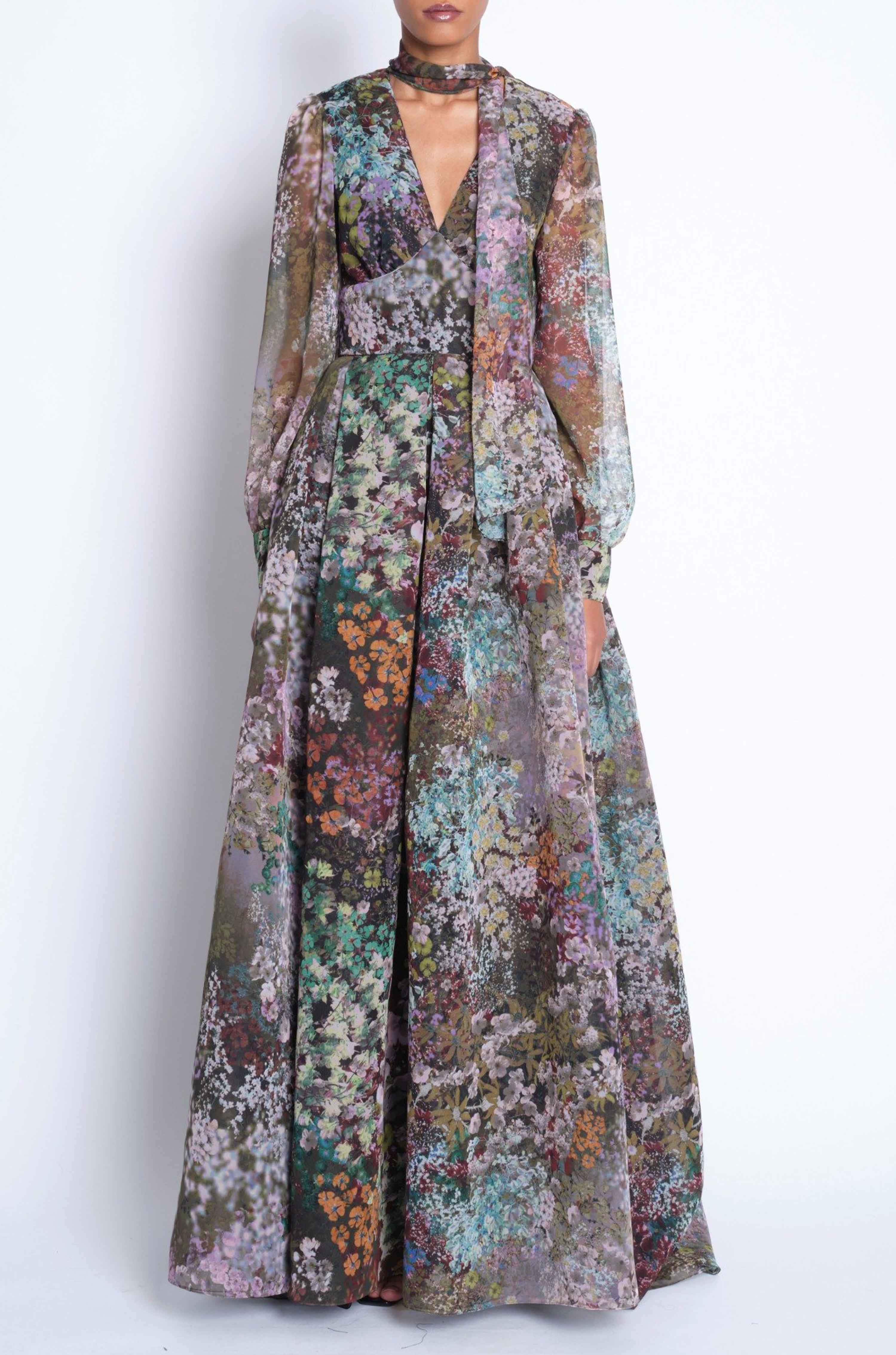 PRINTED LONG SLEEVE GOWN W/ NECK TIE