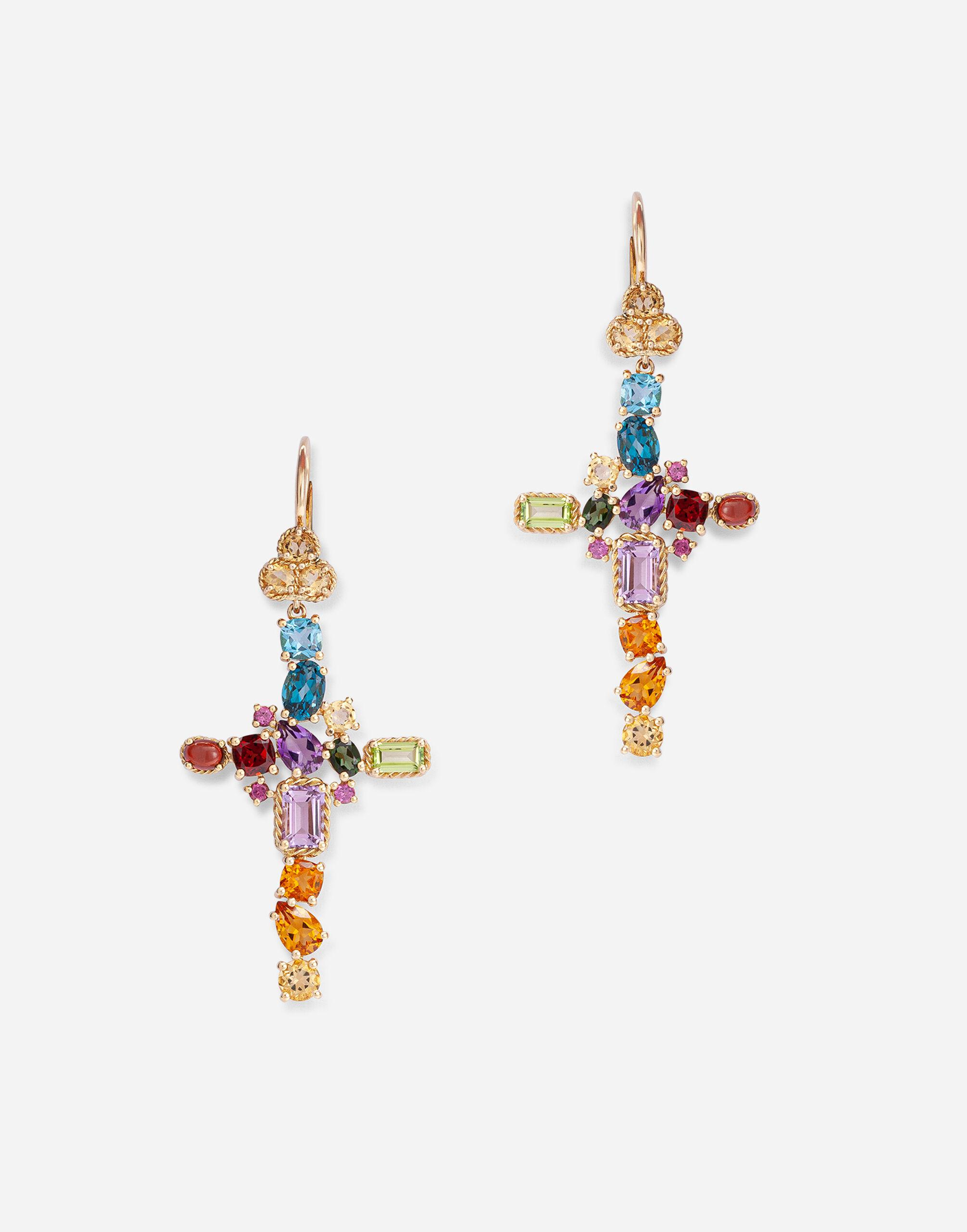 Rainbow alphabet earring in yellow gold with multicolor fine gems