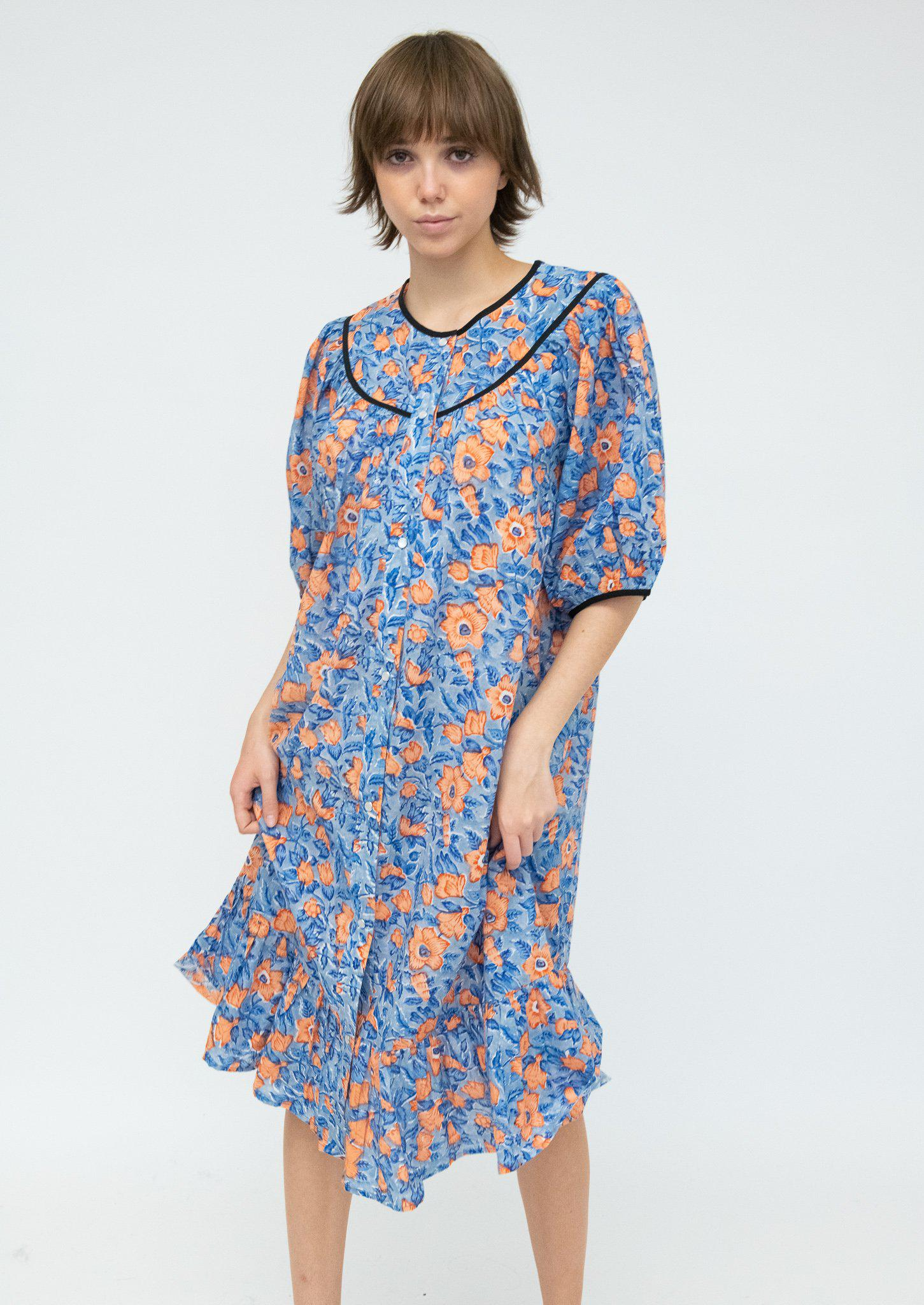 Snap Housedress in Blue and Peach Floral