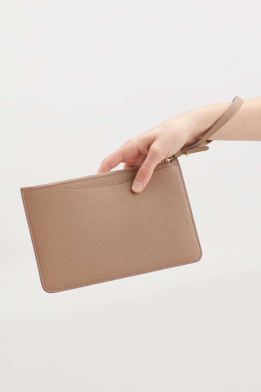 Women's Slim Wristlet Wallet in Cappuccino | Pebbled Leather by Cuyana 4