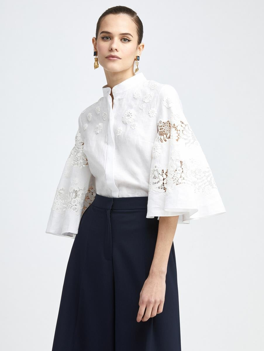 LACE INSET FLARE SLEEVE BLOUSE